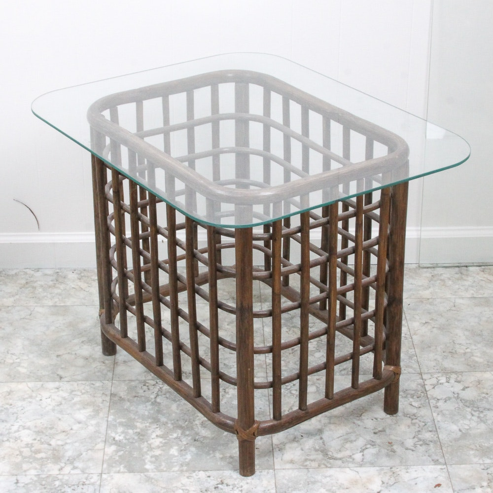 Vintage Mid-Century Rattan End Table
