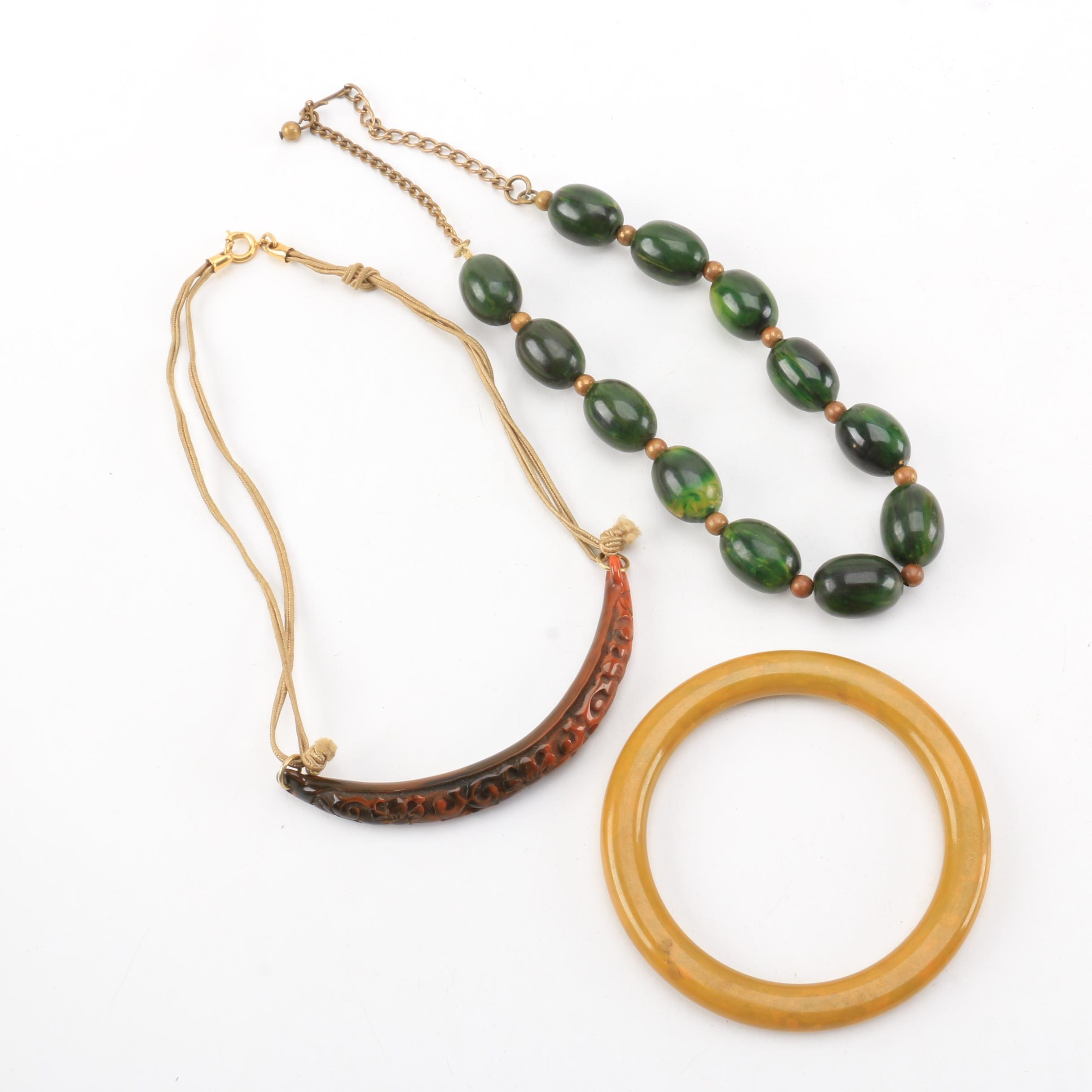 Costume Jewelry Including Marbled Bakelite