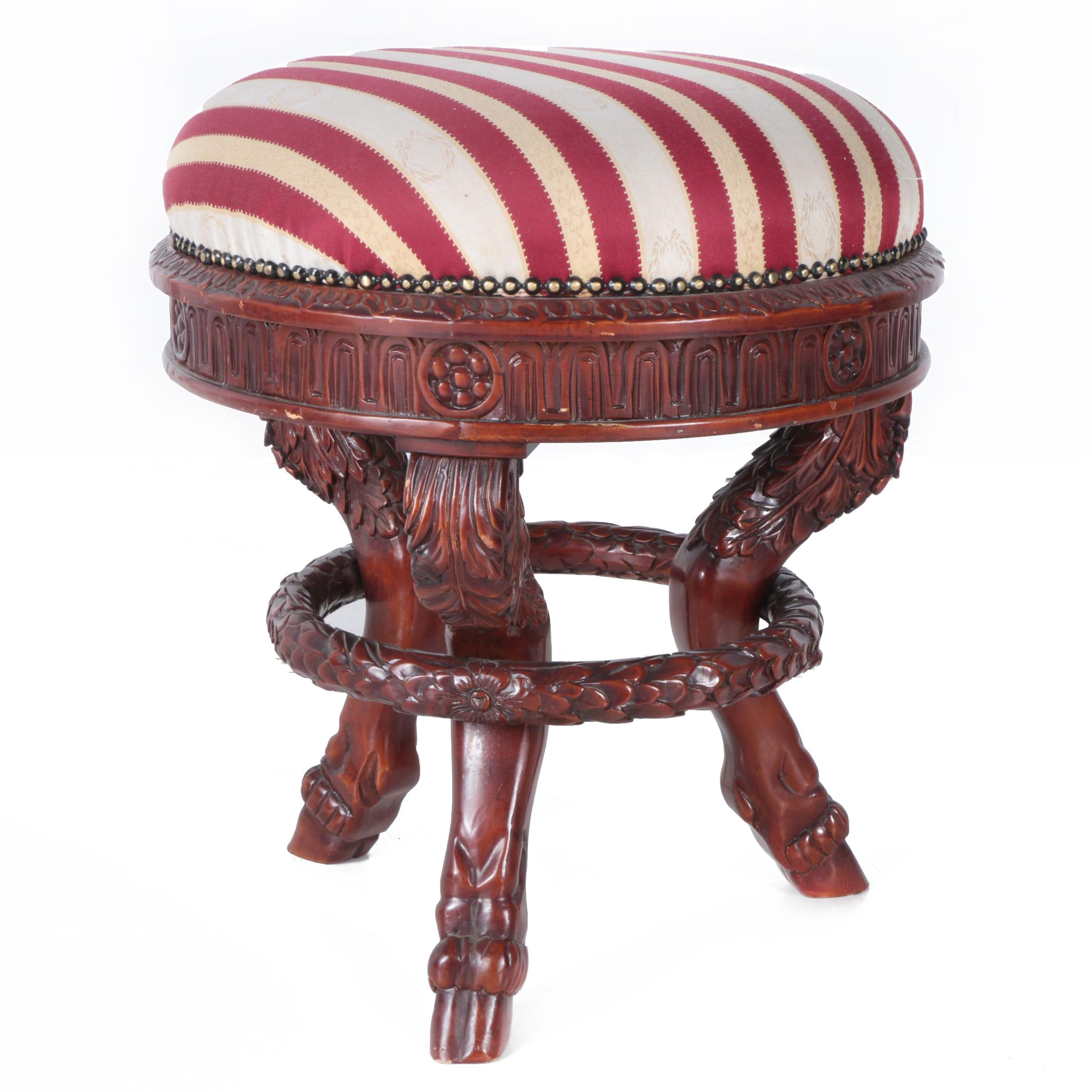 Neoclassical Style Upholstered Footstool