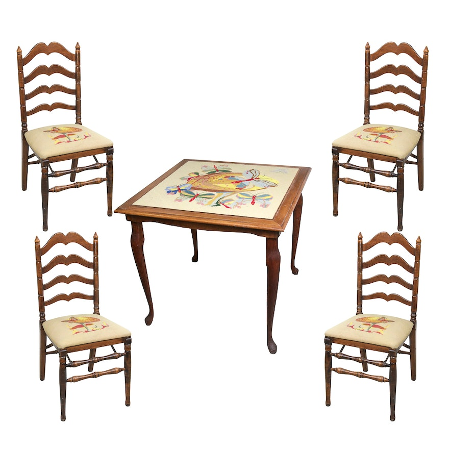 Vintage Needlepoint Card Table And Stakmore Folding Chairs