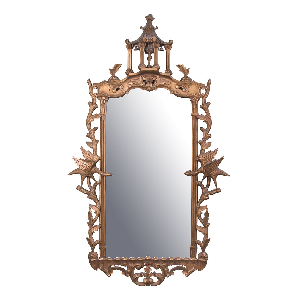 Antique Carved Chippendale Style Mirror with Pagoda Finial