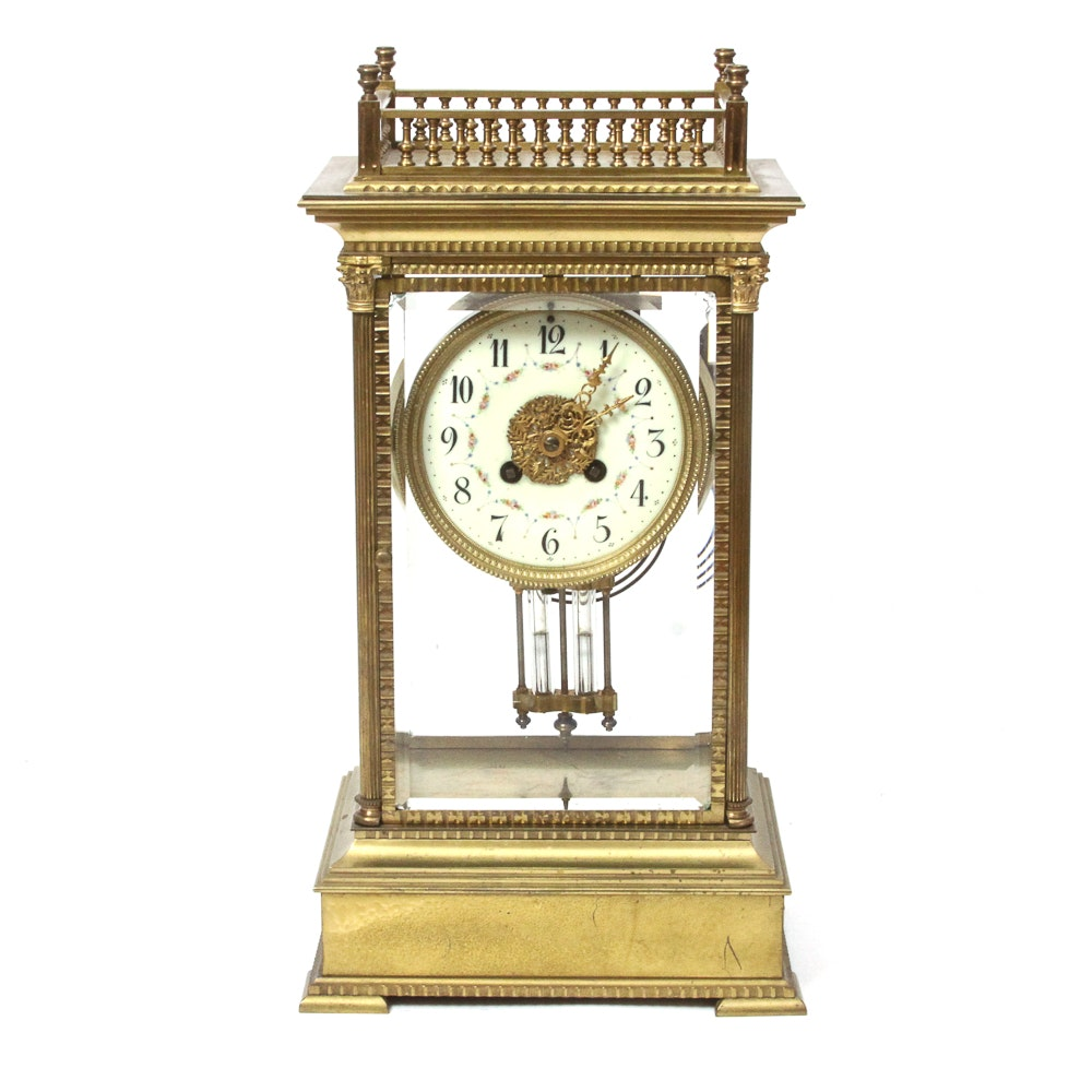 Antique French Portico Style Mantel Clock