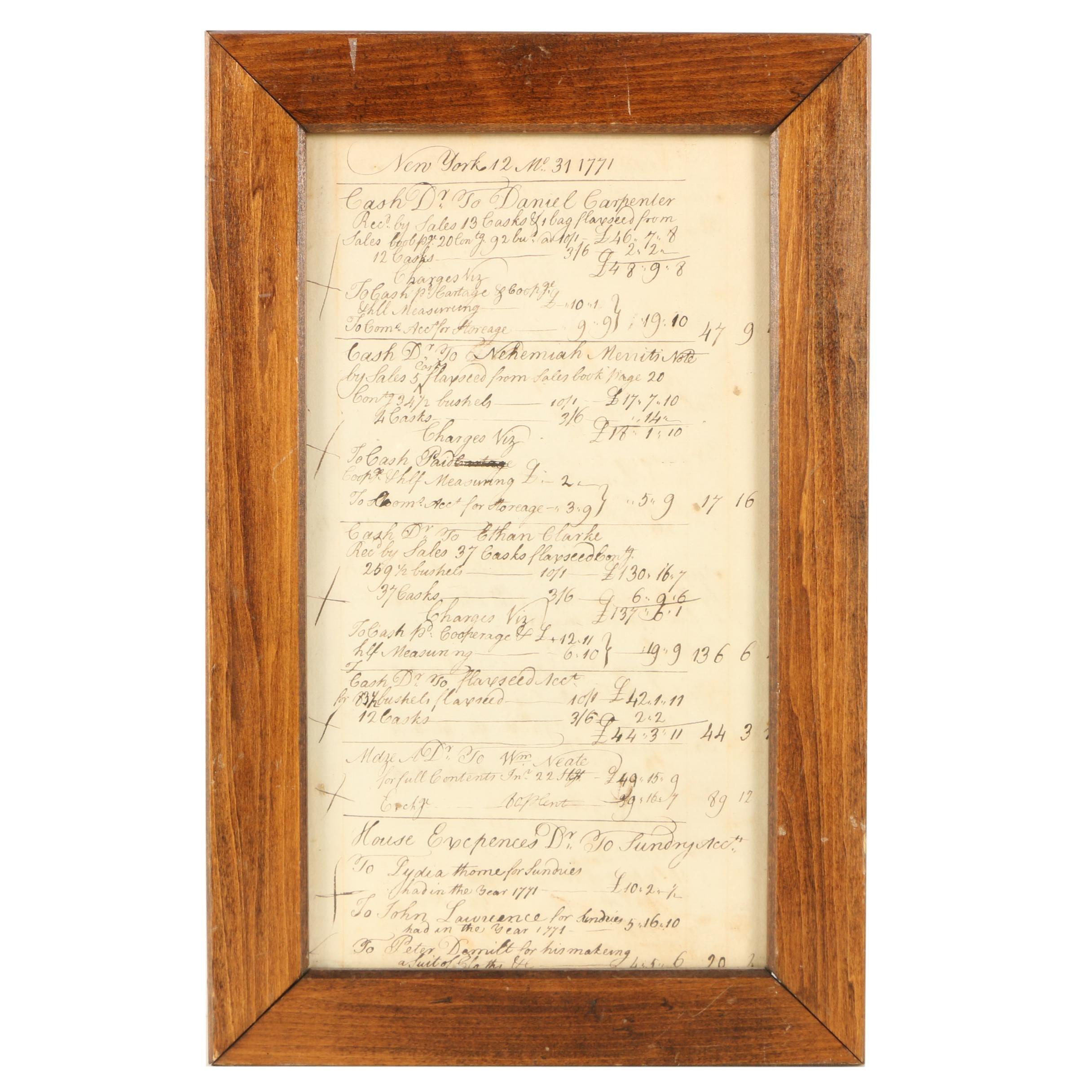 Framed Eighteeth Century Account Book Page