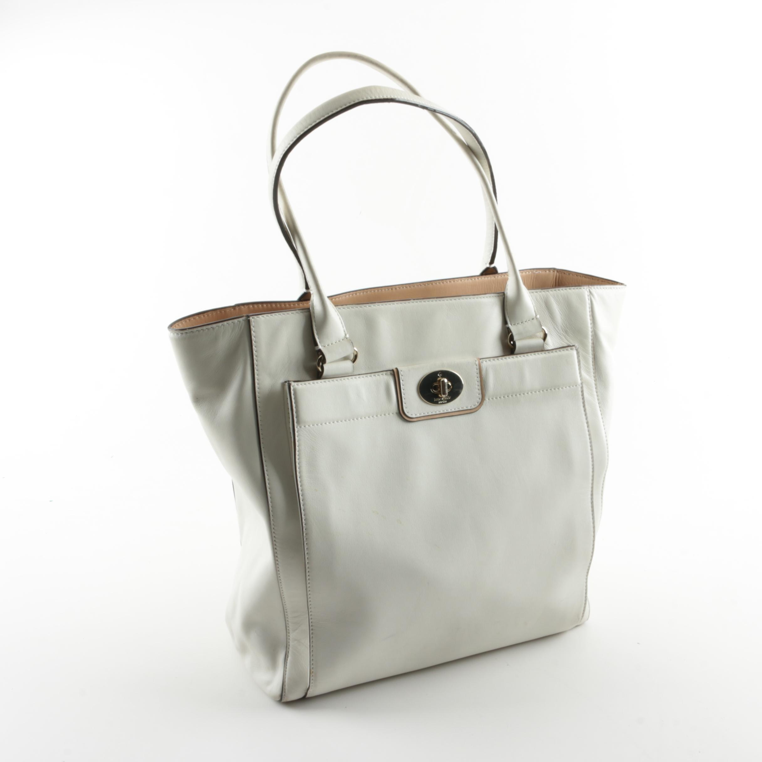 Kate Spade White and Tan Leather Tote