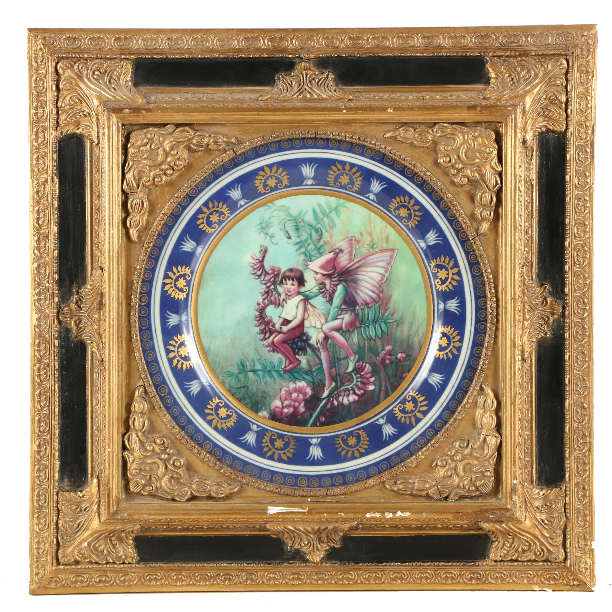 Charger with Fairy Design in Ornate Wooden and Gesso Frame