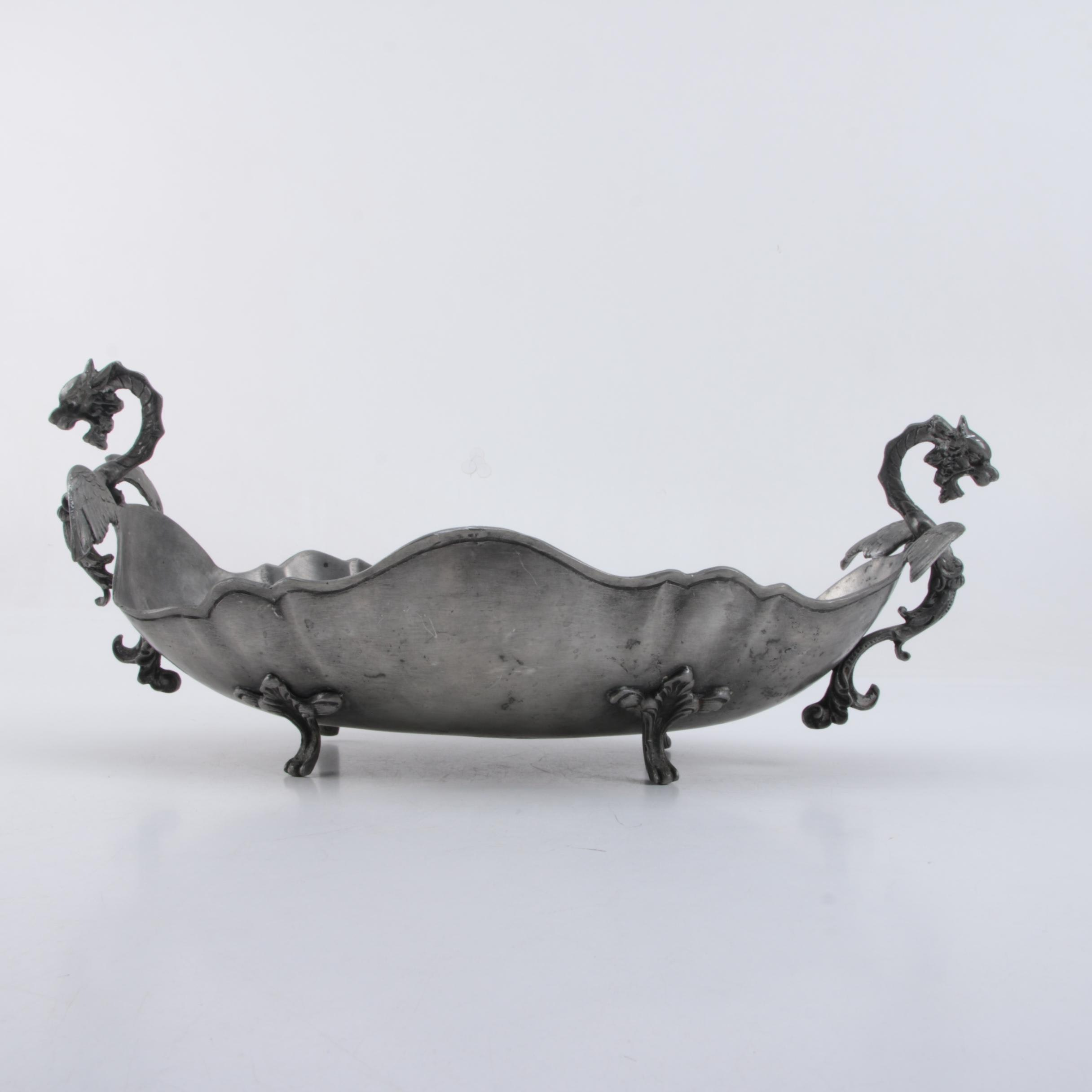 Metal Serving Dish with Dragon Shaped Handles