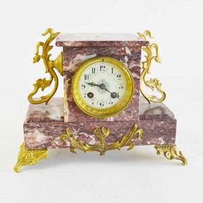 Marble Ormolu Style Mantel Clock
