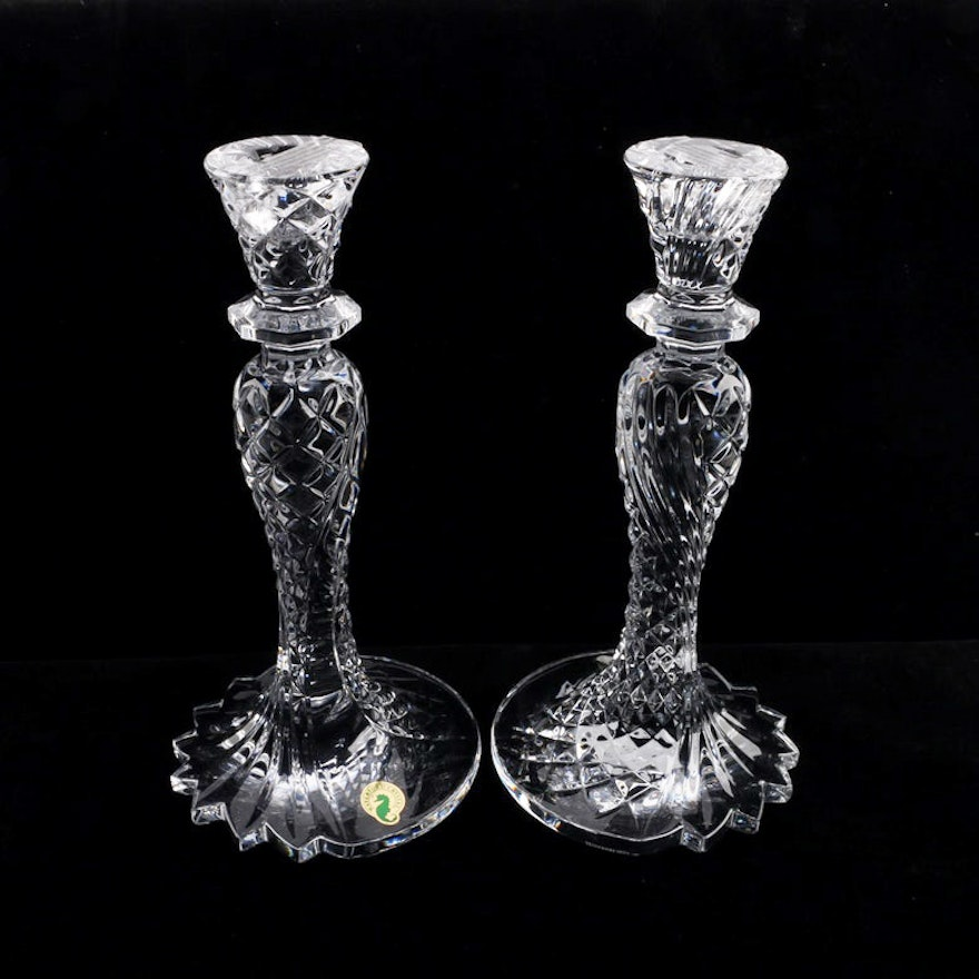 Pair Of Waterford Crystal Seahorse Candlesticks Ebth