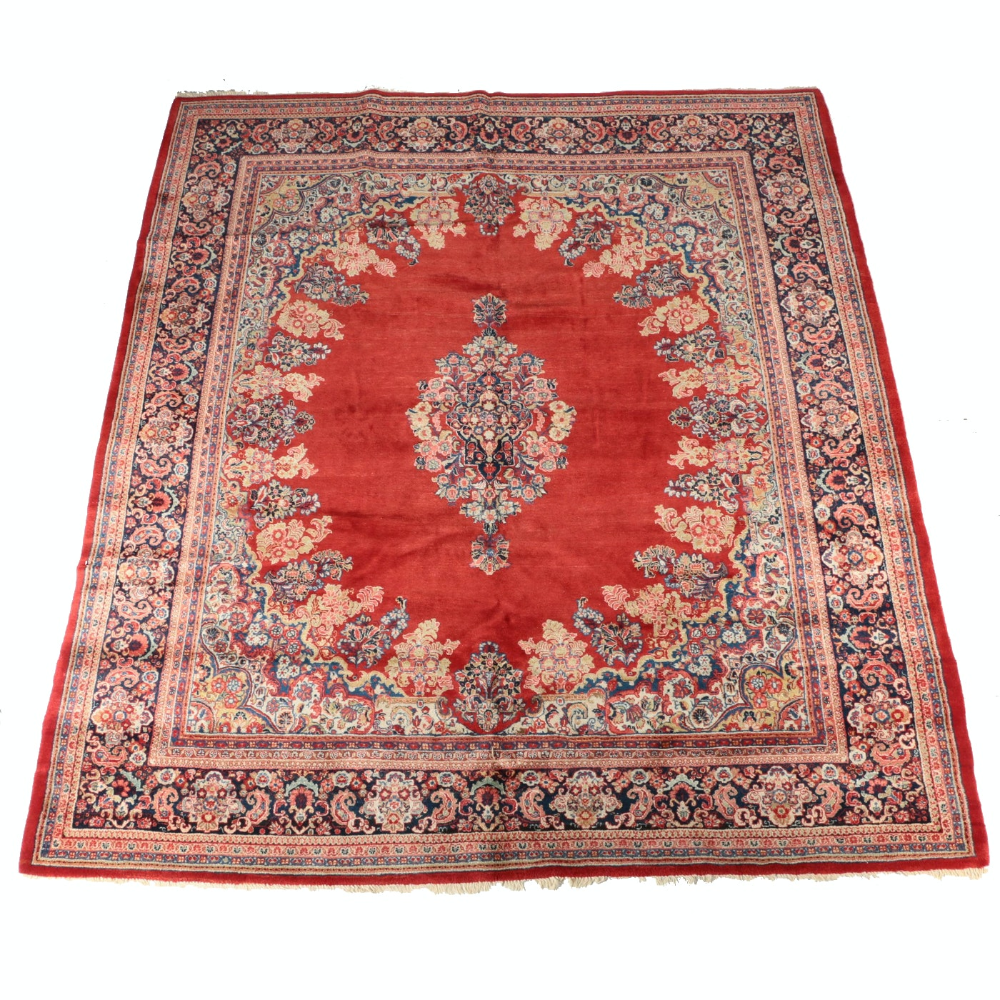 Vintage Finely Hand-Knotted Persian Sarouk Room Size Rug