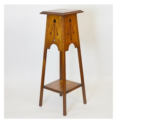 Arts and Crafts Style Square Oak Plant Stand
