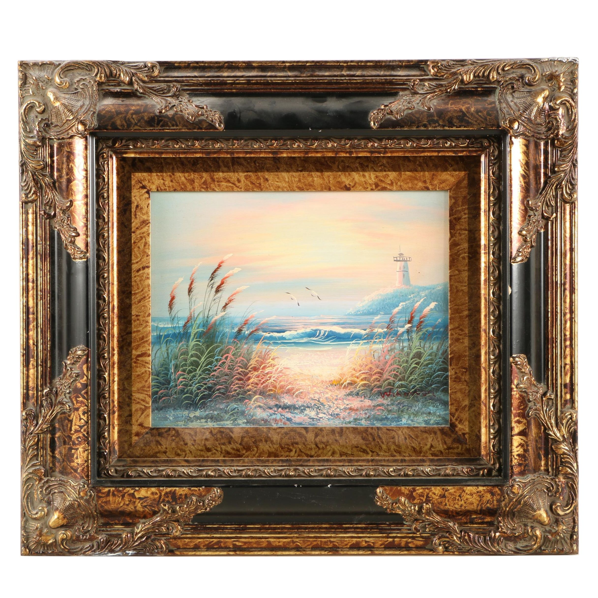 Oil Painting on Canvas of a Beach Scene