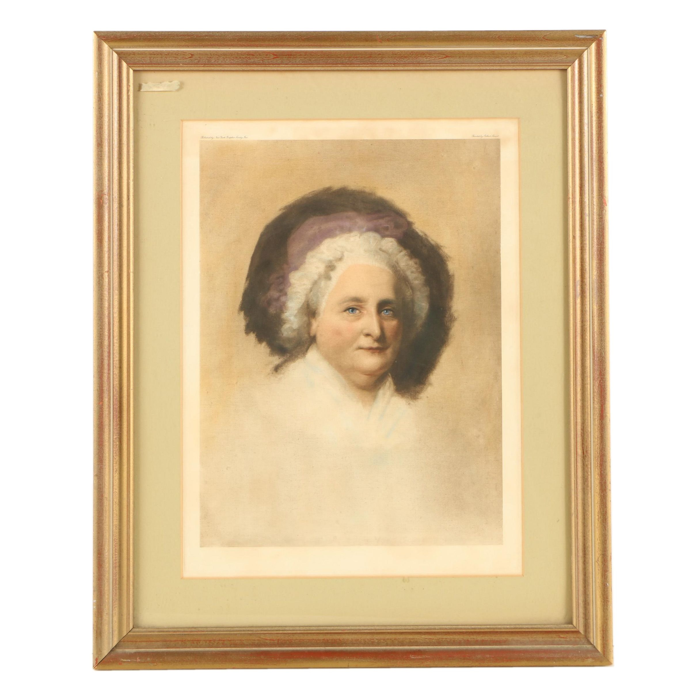 "Hand Colored Photogravure After Gilbert Stuart ""Martha Washington"""