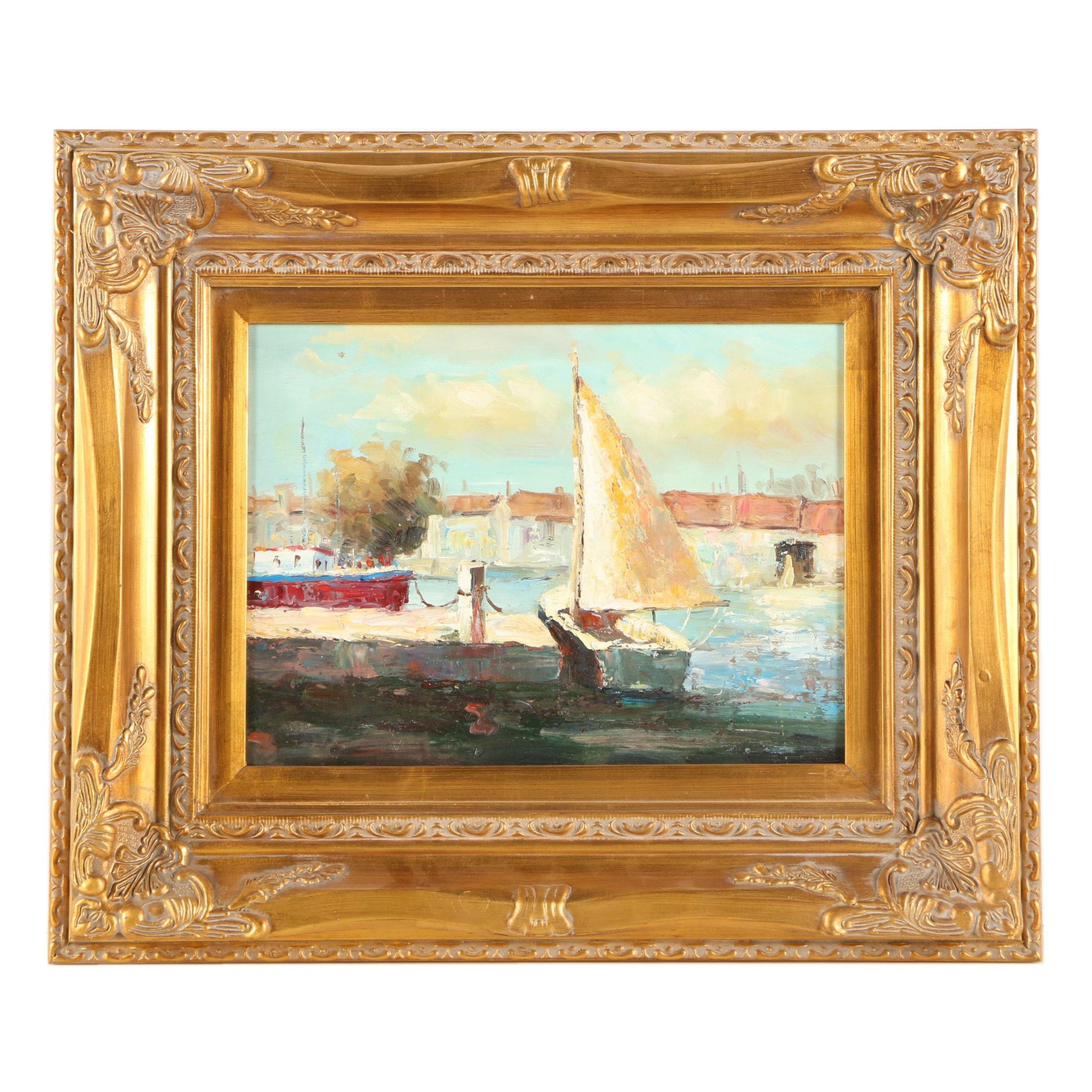 Oil Painting of a Harbor