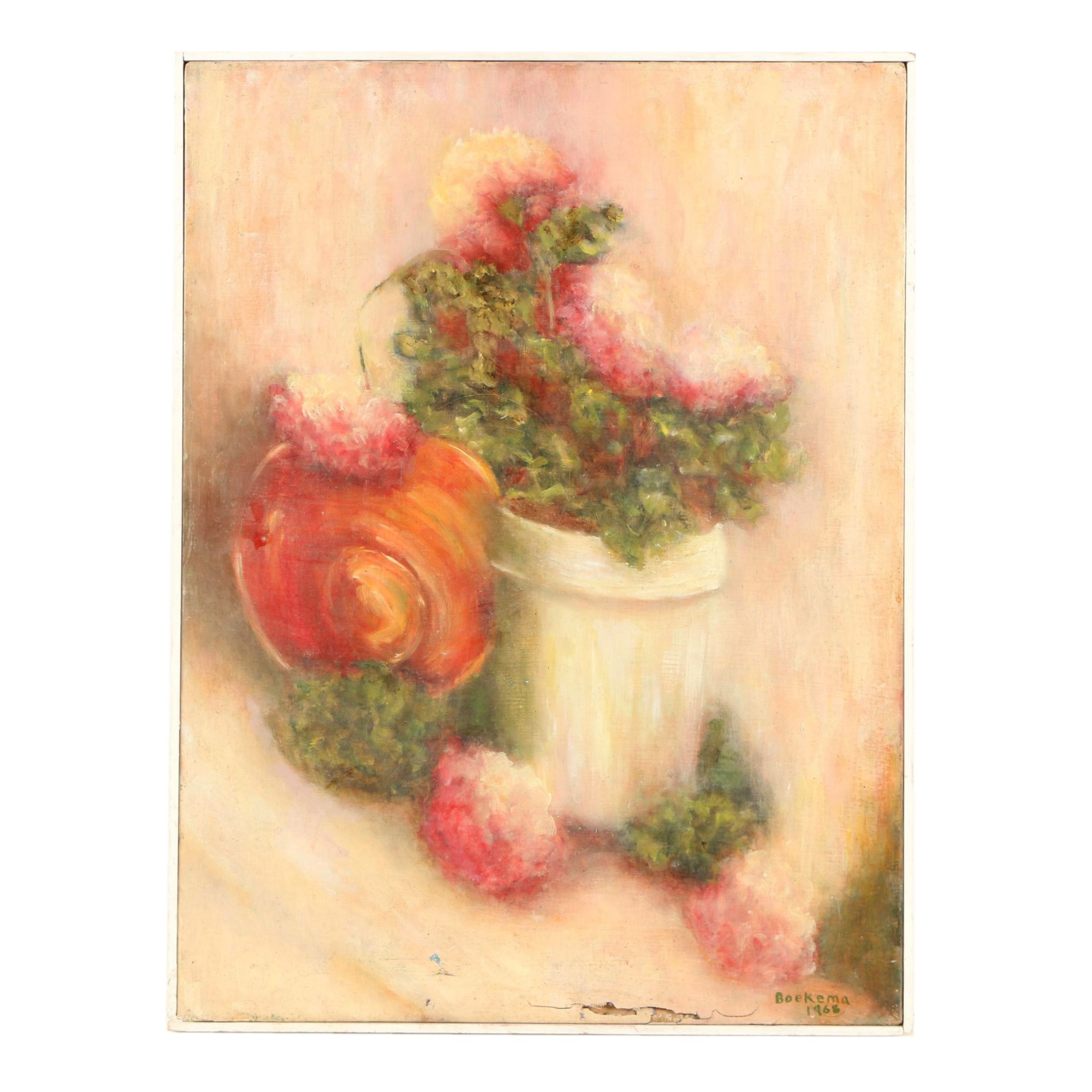 Boekema 1968 Oil Painting Floral Still Life