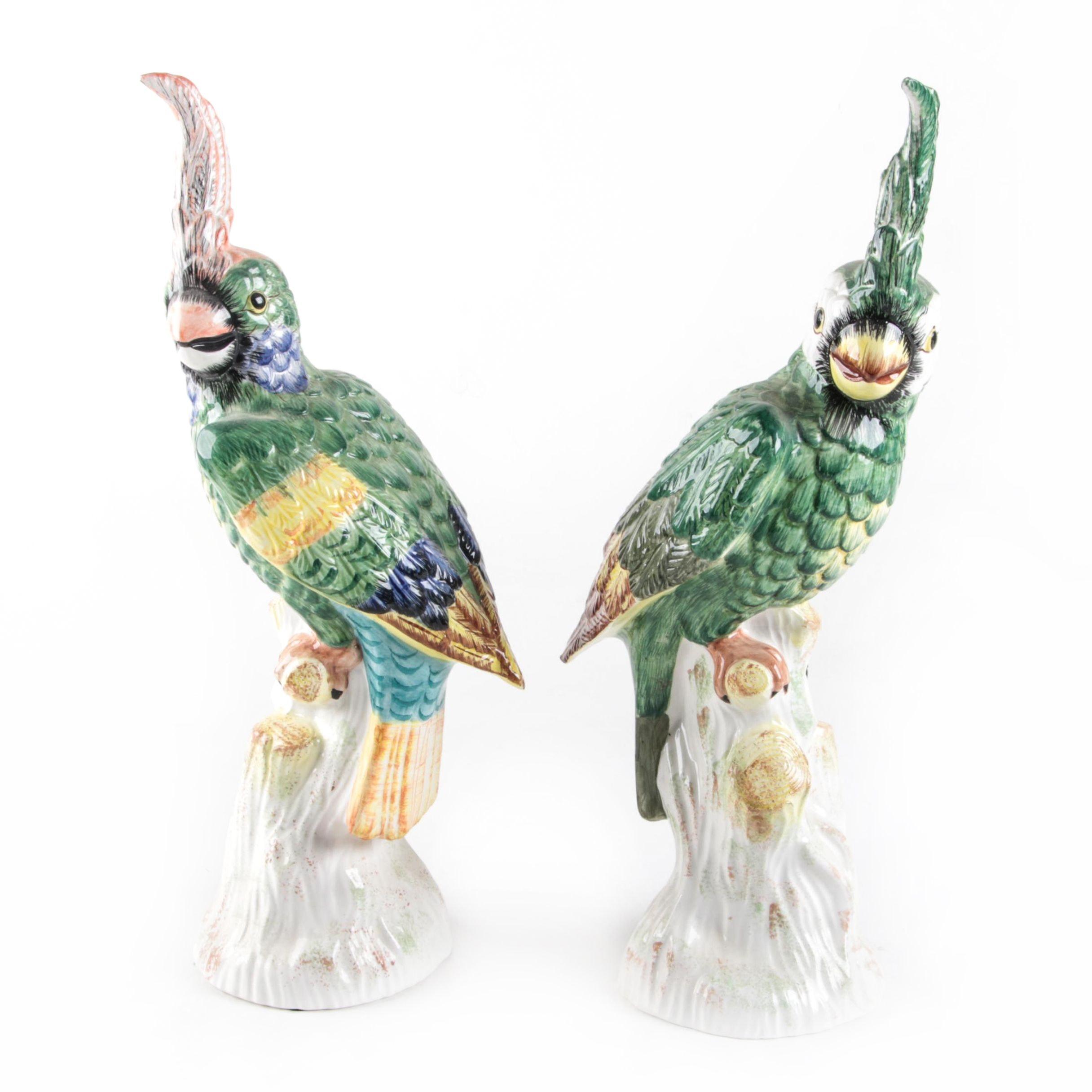 Mottahedeh Design Italian Ceramic Parrot Figurines