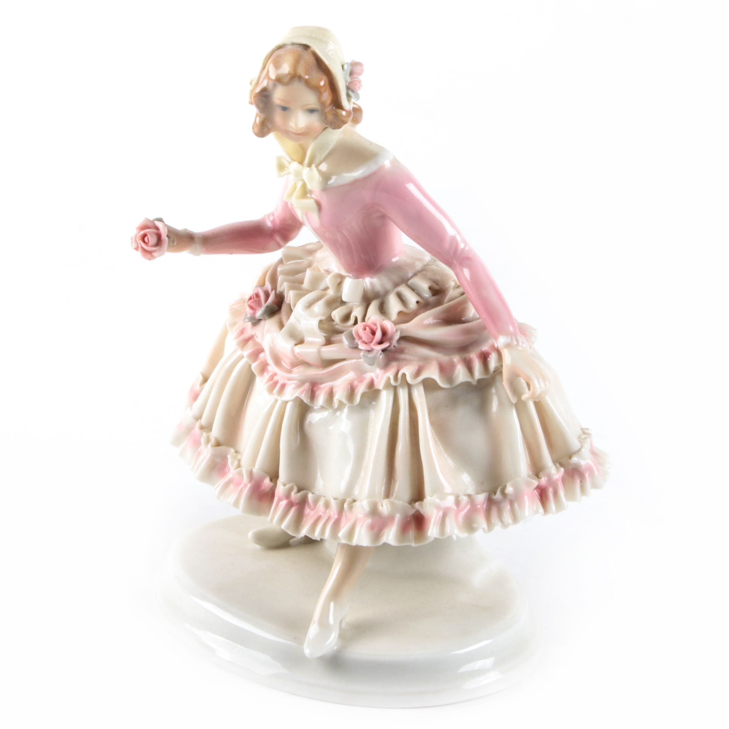 Vintage Karl Ens Volkstedt Porcelain Woman in Ruffled Dress Figurine