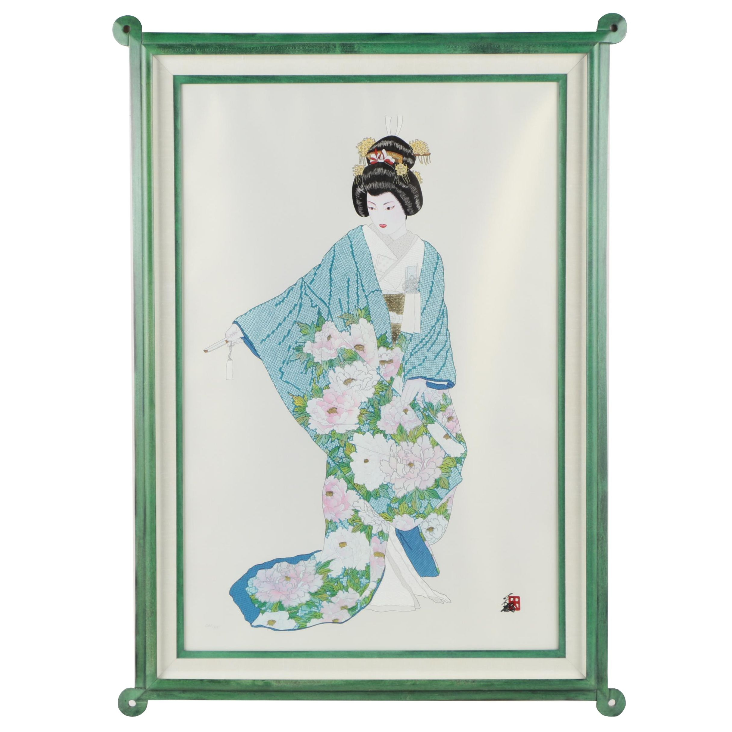 "Hisashi Otsuka Embellished Giclee Print on Silk ""Hanatone Happiness"""