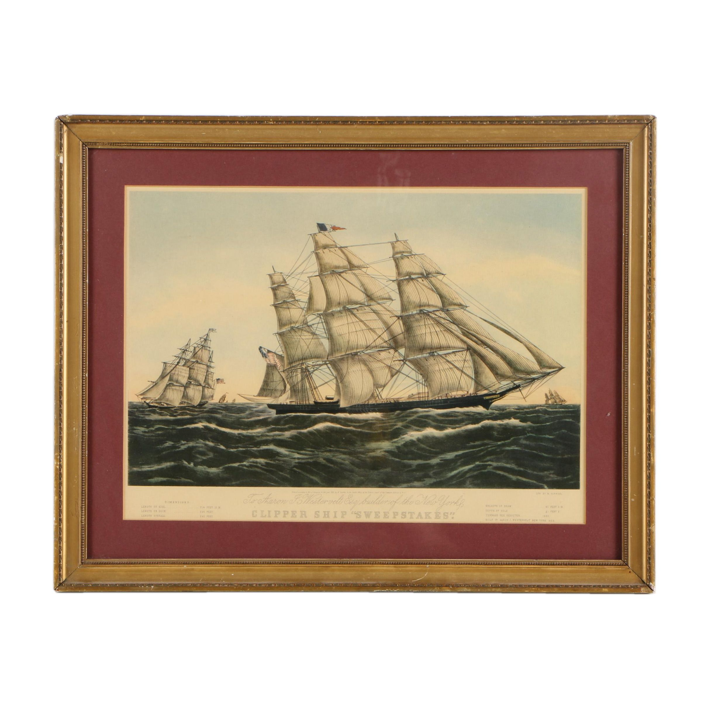 "Offset Lithograph on Wove Paper ""Clipper Ship 'Sweepstakes'."""