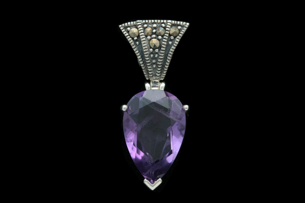 Sterling Silver, Amethyst and Marcasite Pendant