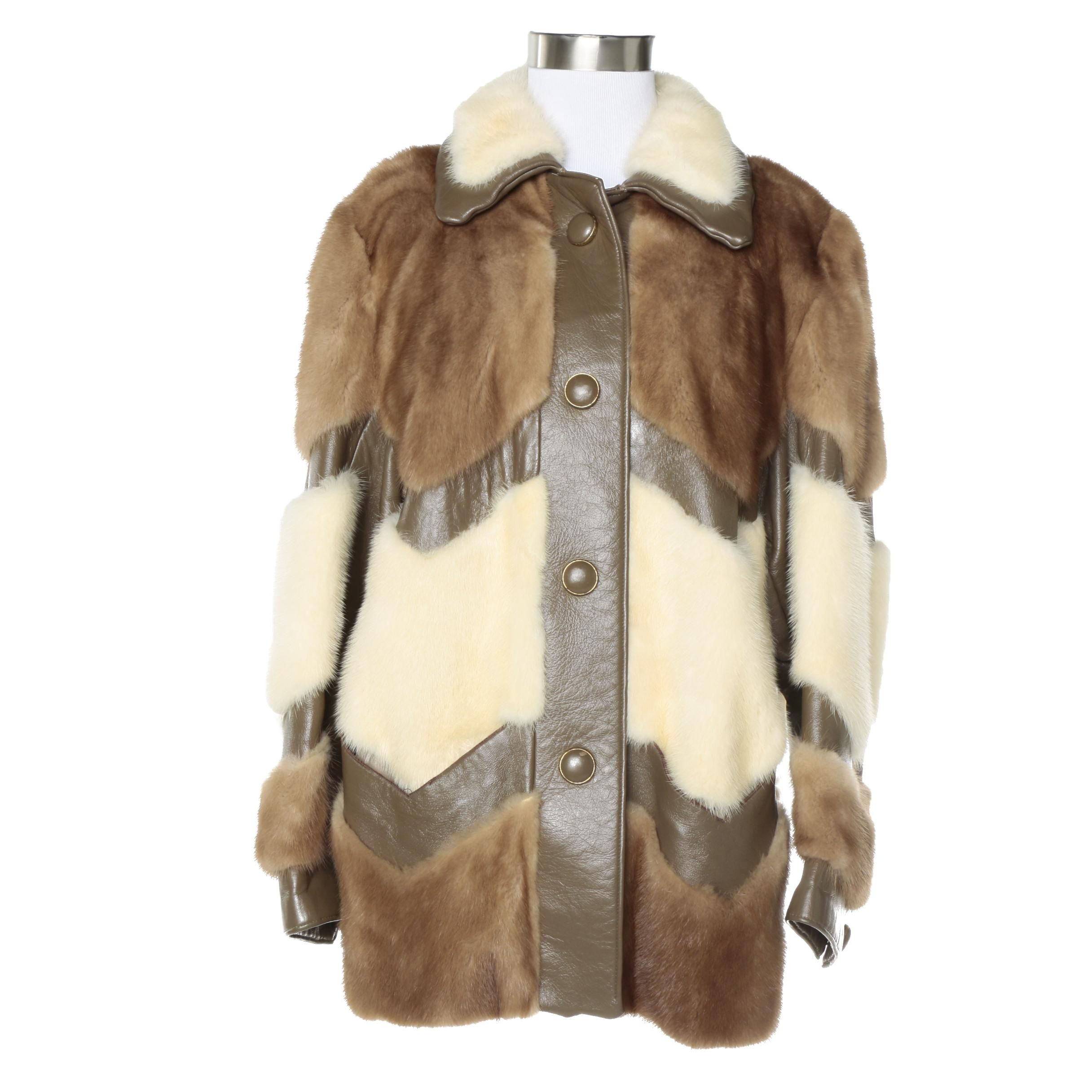 Women's Vintage Mink Fur and Leather Patchwork Jacket