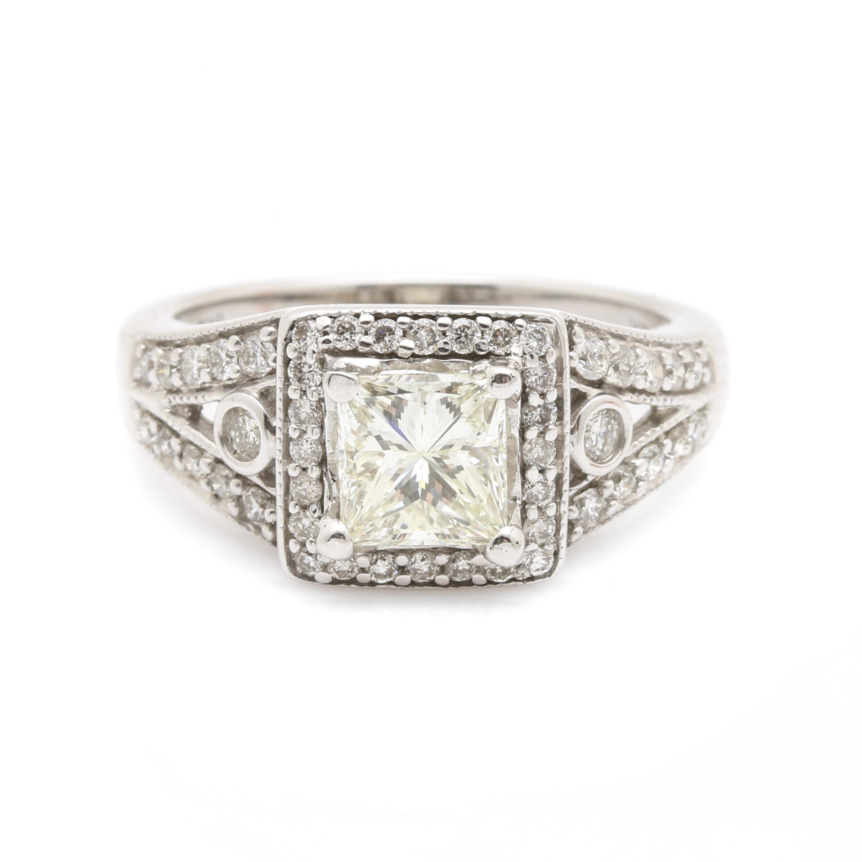 14K White Gold 1.64 CTW Diamond Ring