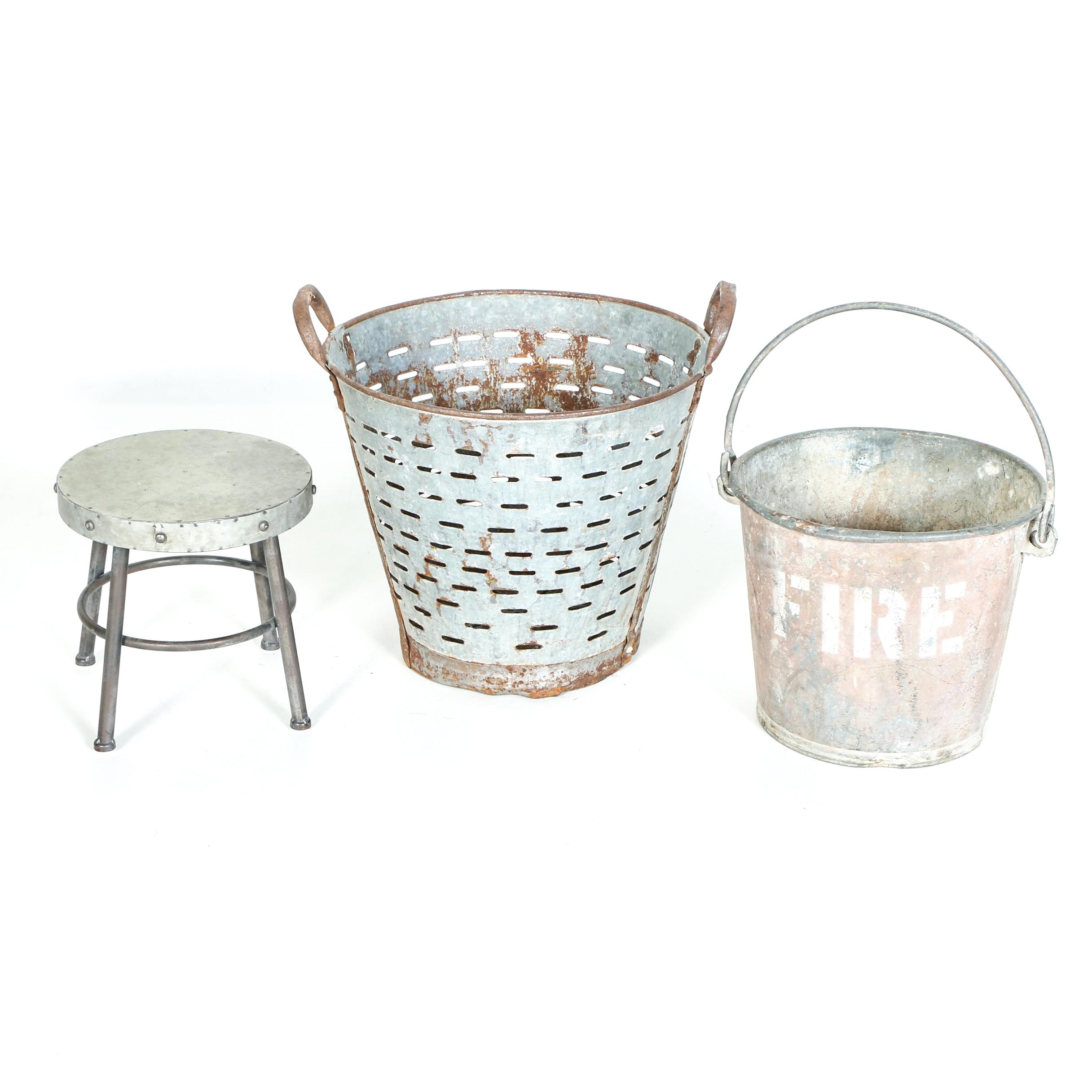 Metal Olive Bucket, Fire Pail, and Small Stool