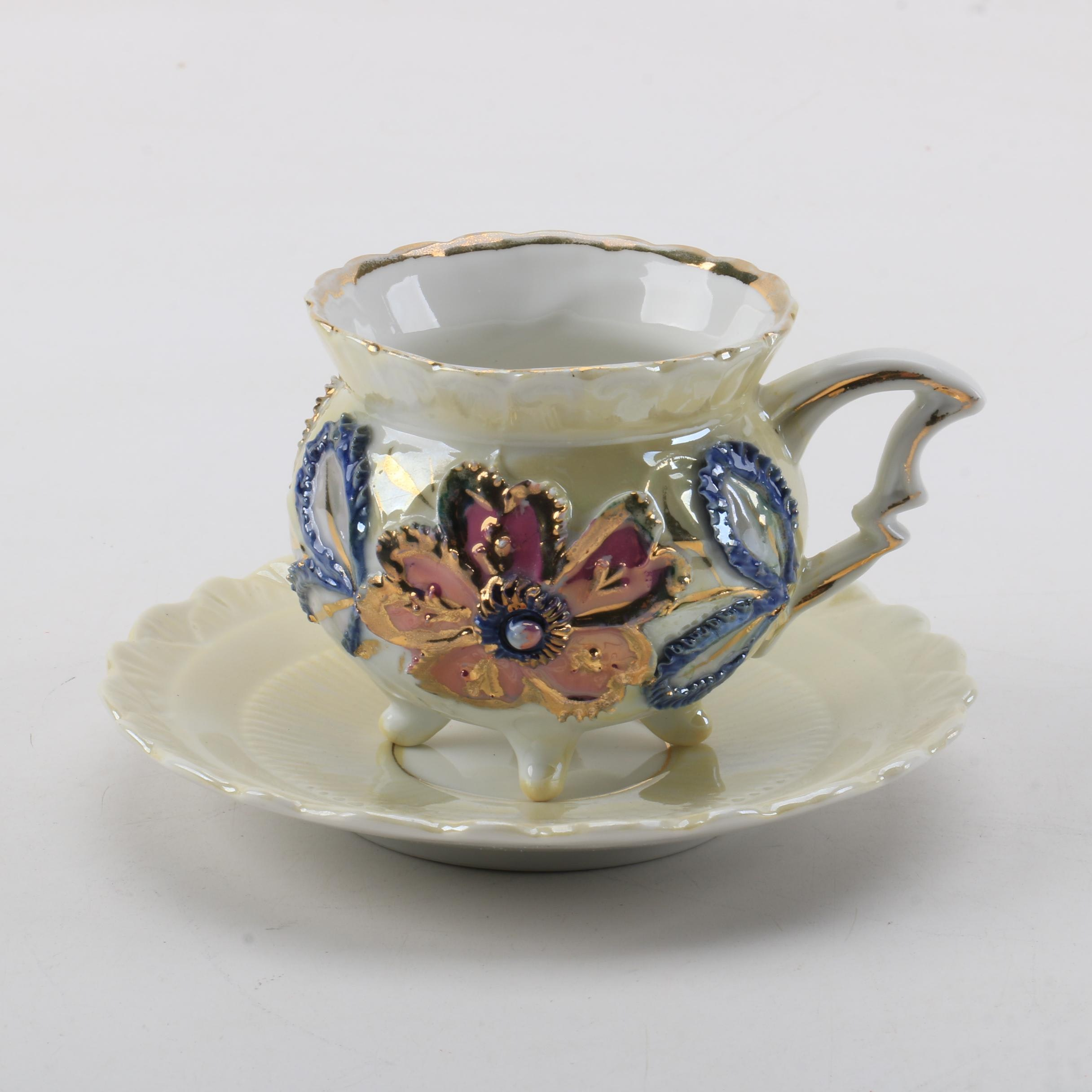 Early 20th Century Lustrous Porcelain Teacup and Saucer