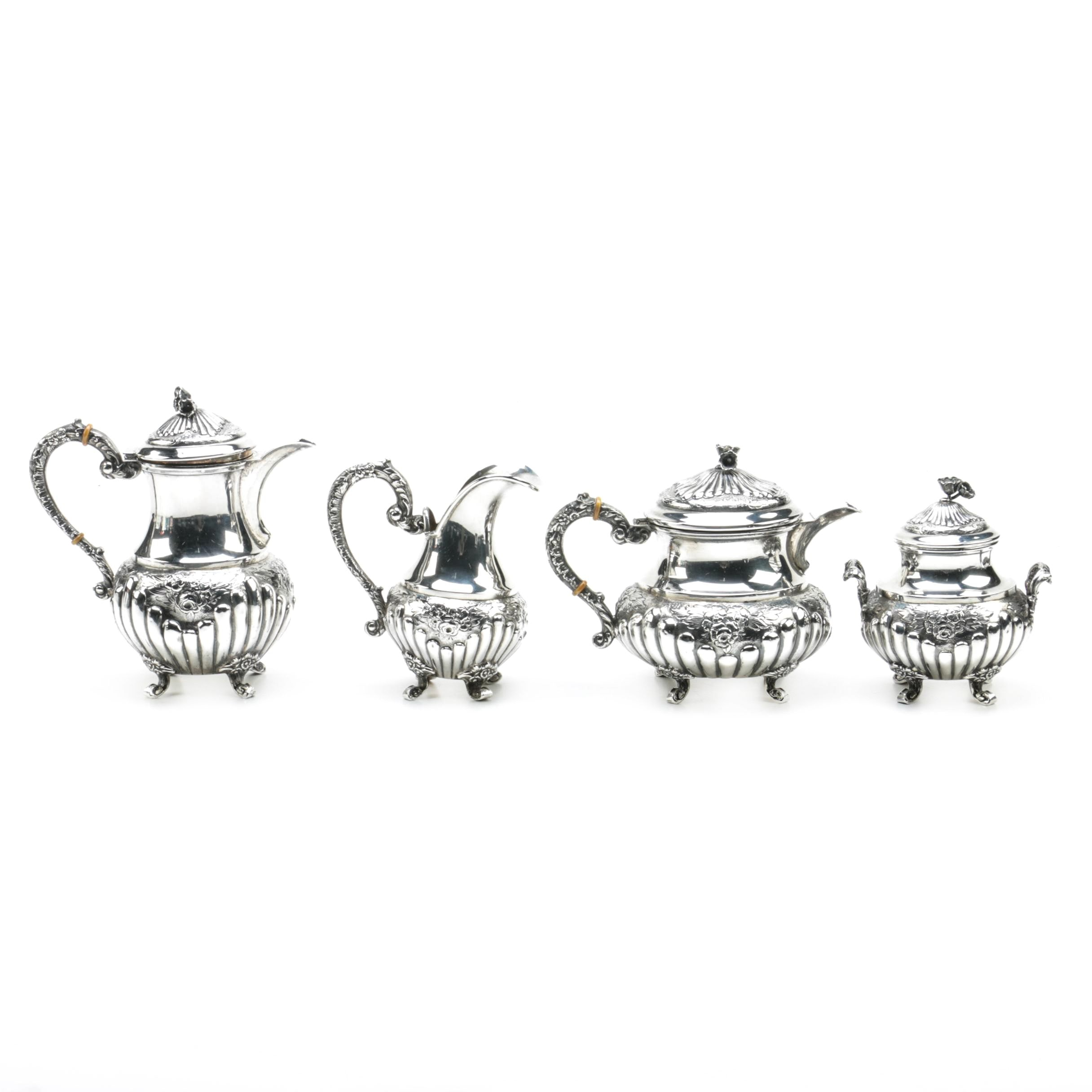 Spanish Baroque Style 915 Silver Tea Set