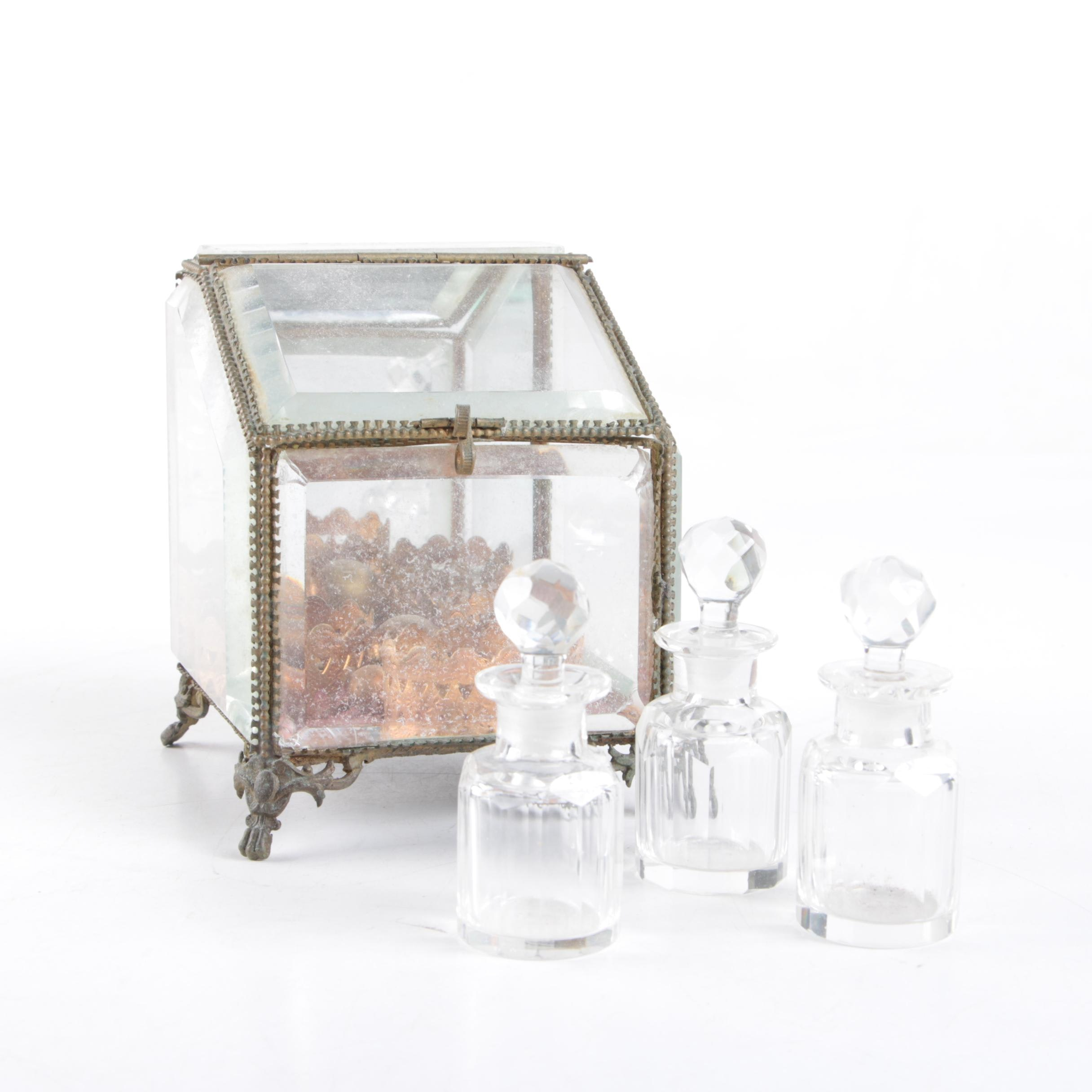 Vintage Glass Perfume Bottle Set
