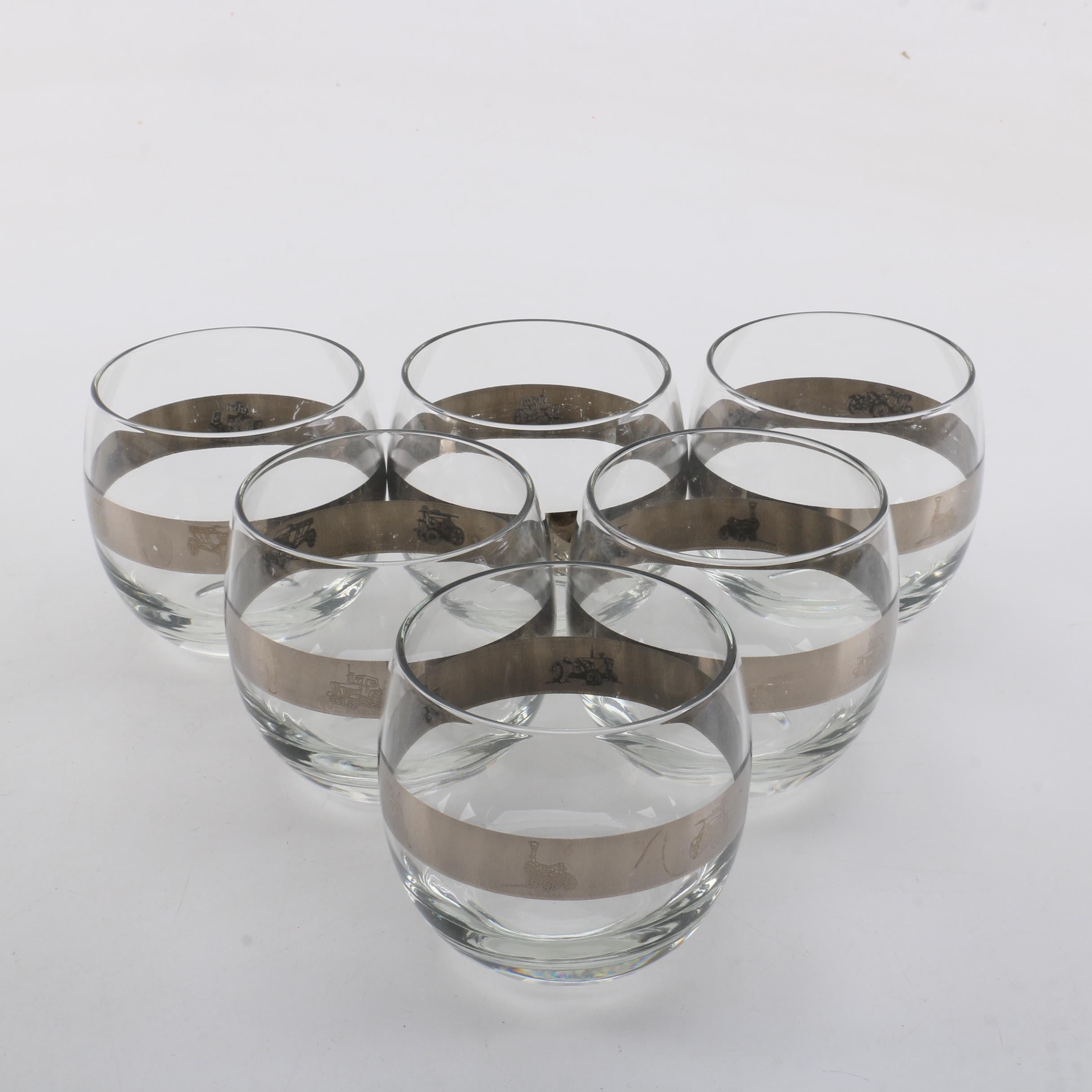 Locomotive Motif Silver Banded Roly Poly Glasses