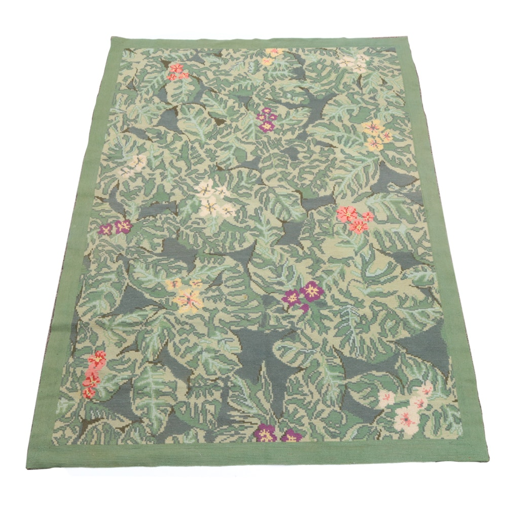 Needlepoint Foliate Wool Area Rug by Stark