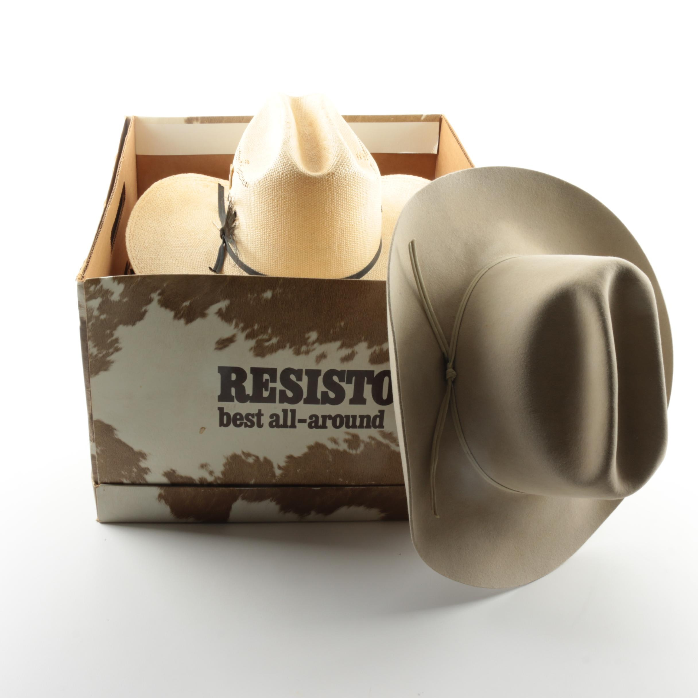 Resistol Beaver Suede and Custom Hatters Straw Cowboy Hats