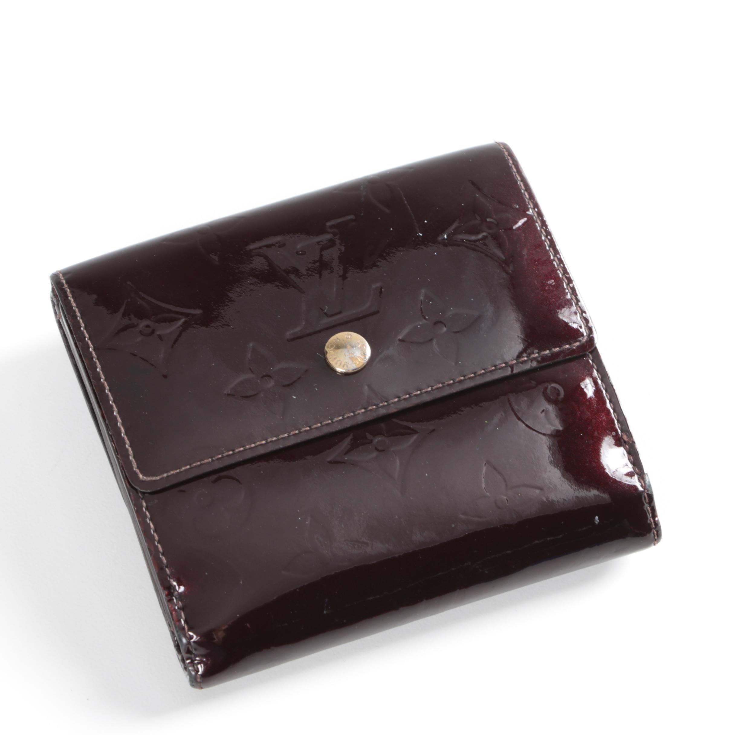 Louis Vuitton of Paris Burgundy Monogram Vernis Leather Elise Wallet
