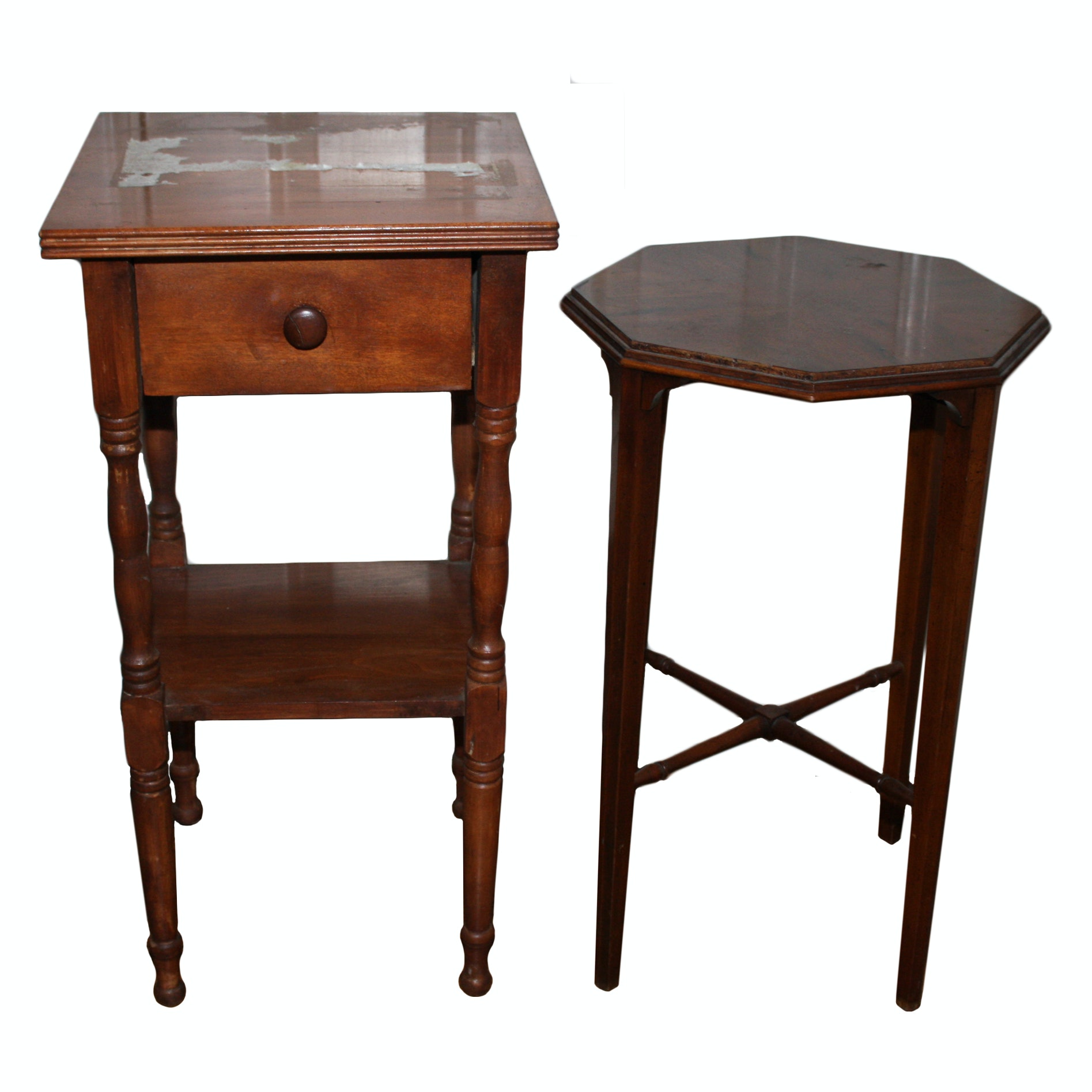 Two Vintage Wood End Tables