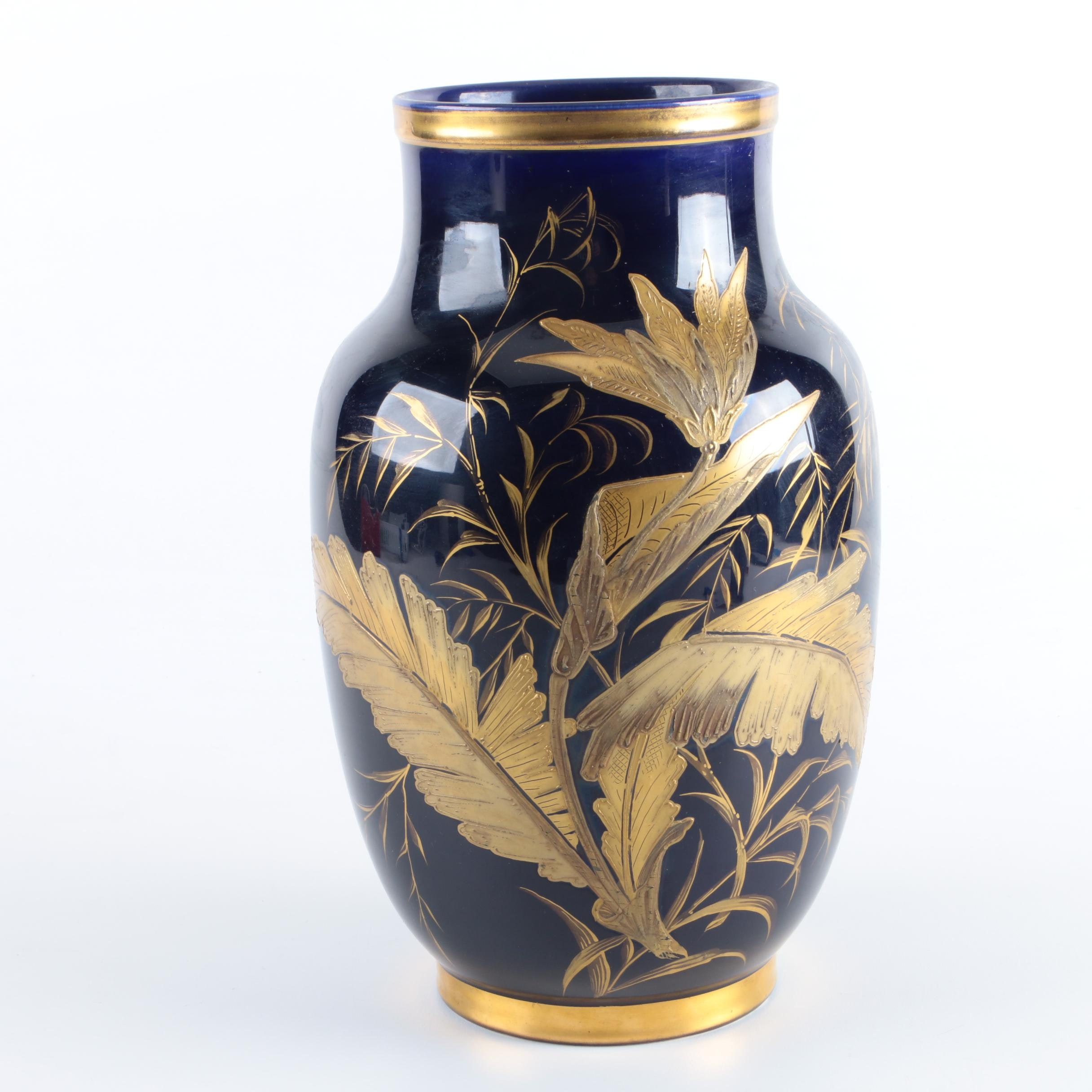 Blue Vase with Gold Tone Leaf Motif