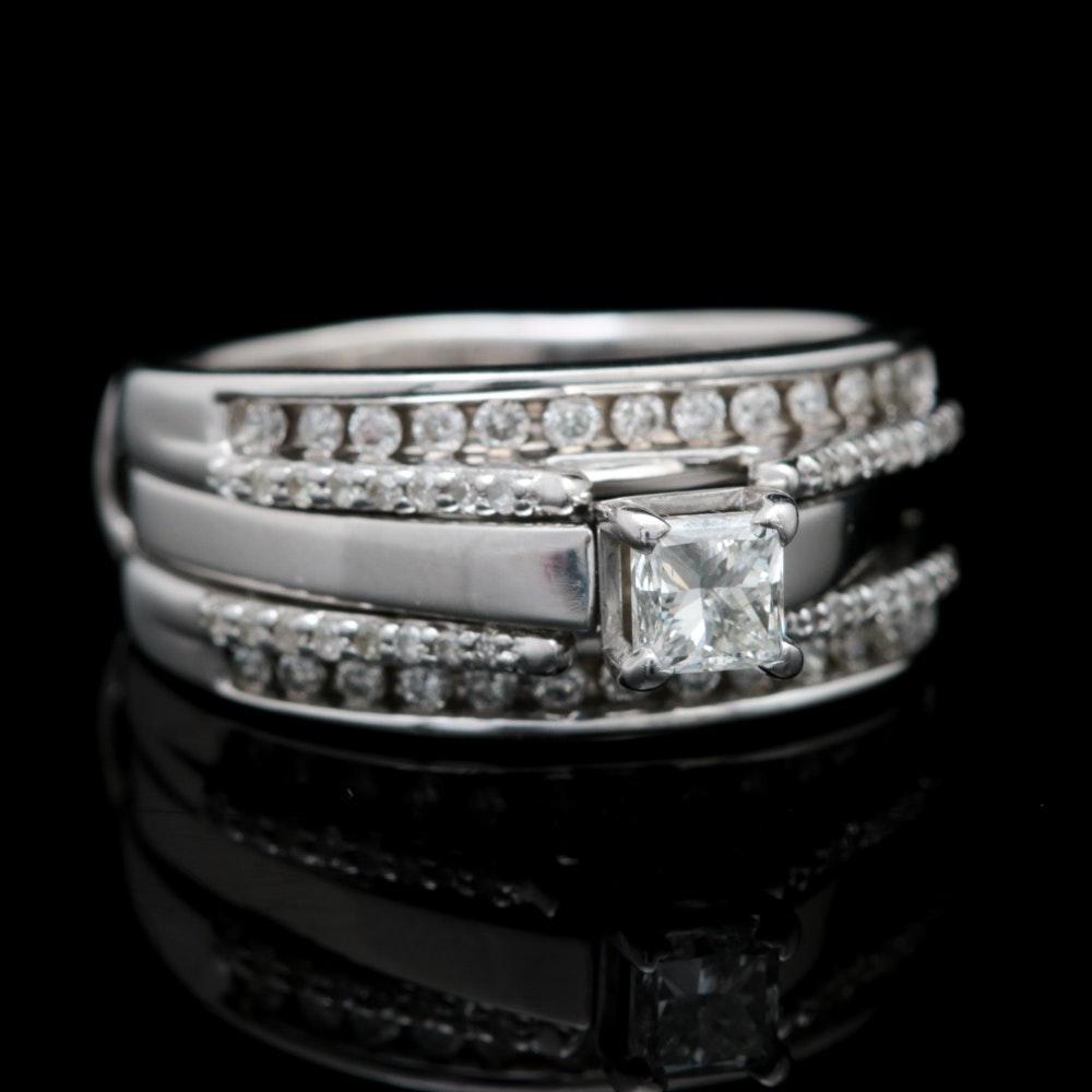 14K White Gold and 1.00 CTW Diamond Bridal Set