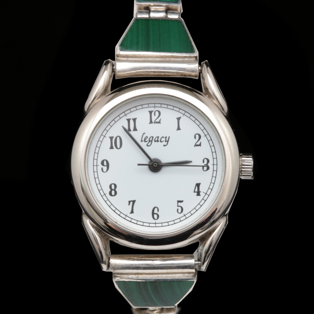 Legacy Watch with Sterling Silver and Malachite Band