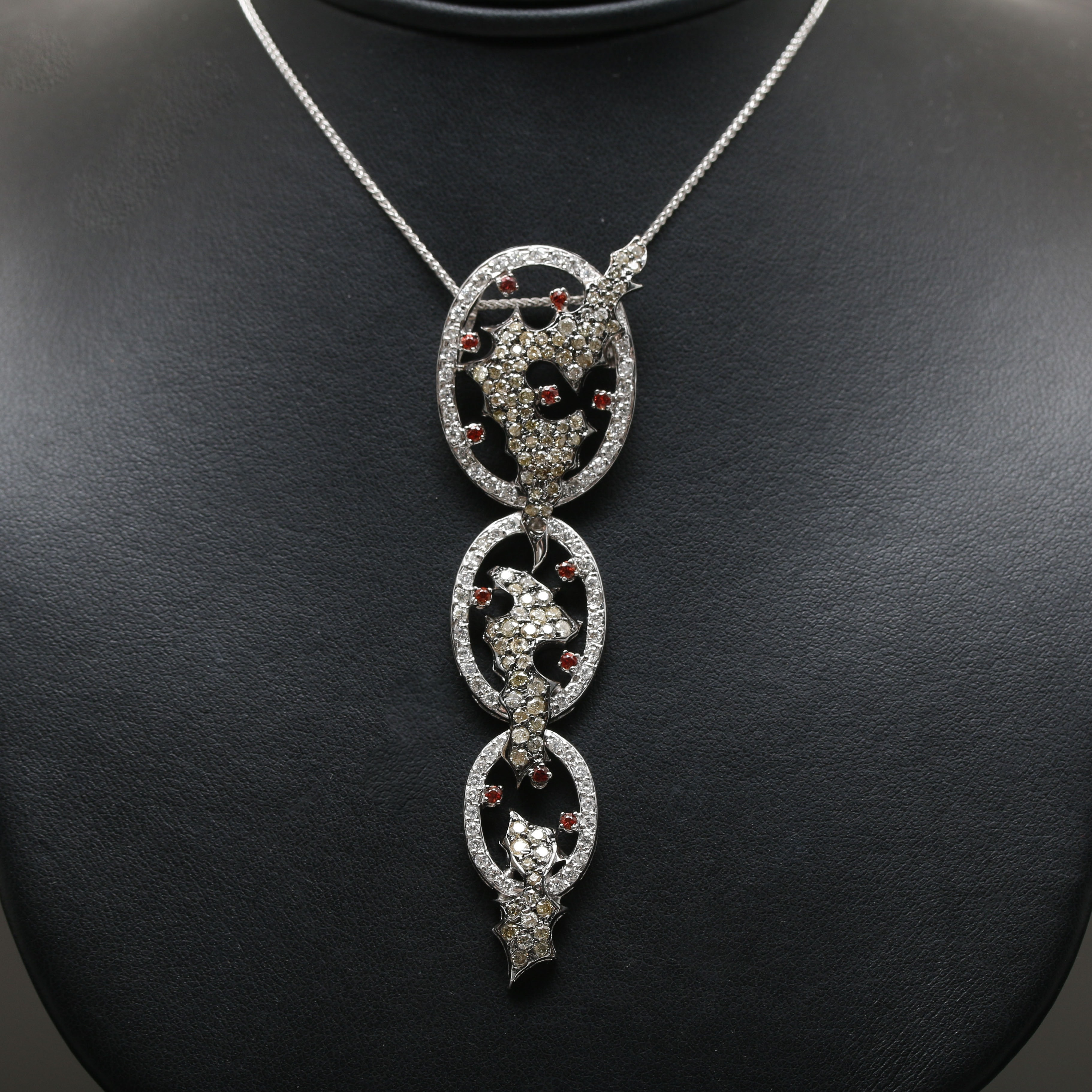 Yessayan 18K White Gold Sapphire and 3.22 CTW Diamond Pendant Necklace