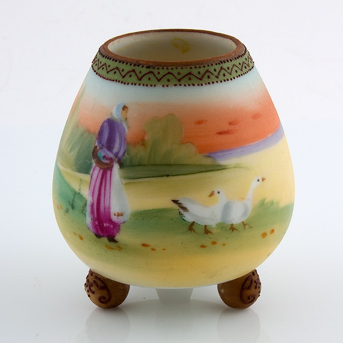 Hand-Painted Nippon Noritake Porcelain Toothpick Holder