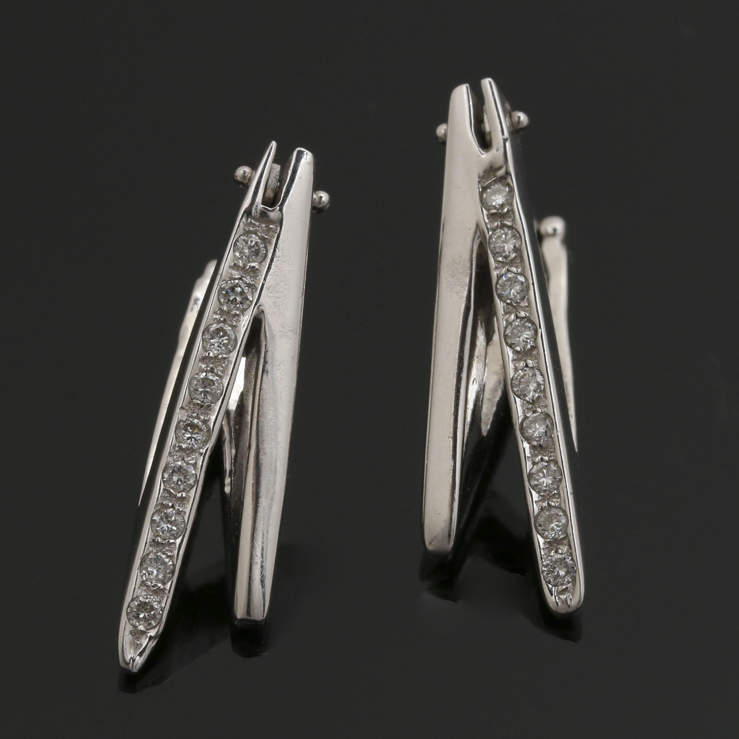 18K White Gold Diamond Geometric Earrings