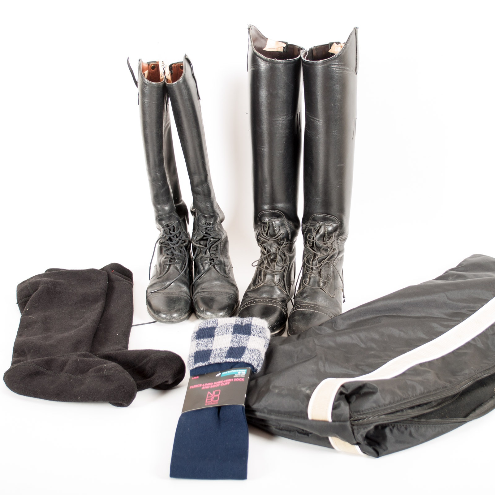 Equestrian Riding Boots with Boot Bag and Socks