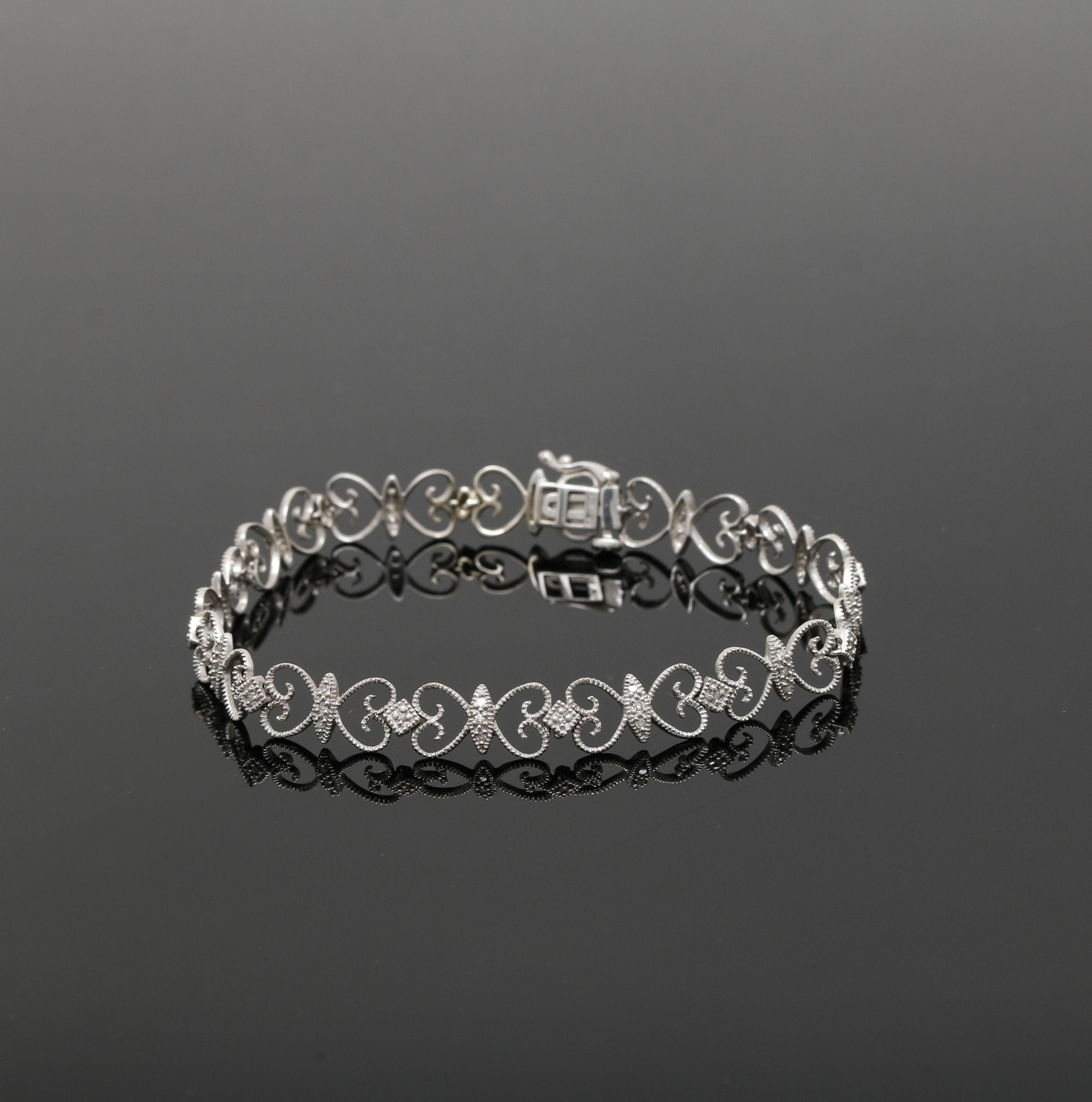 10K White Gold Diamond Bracelet EBTH