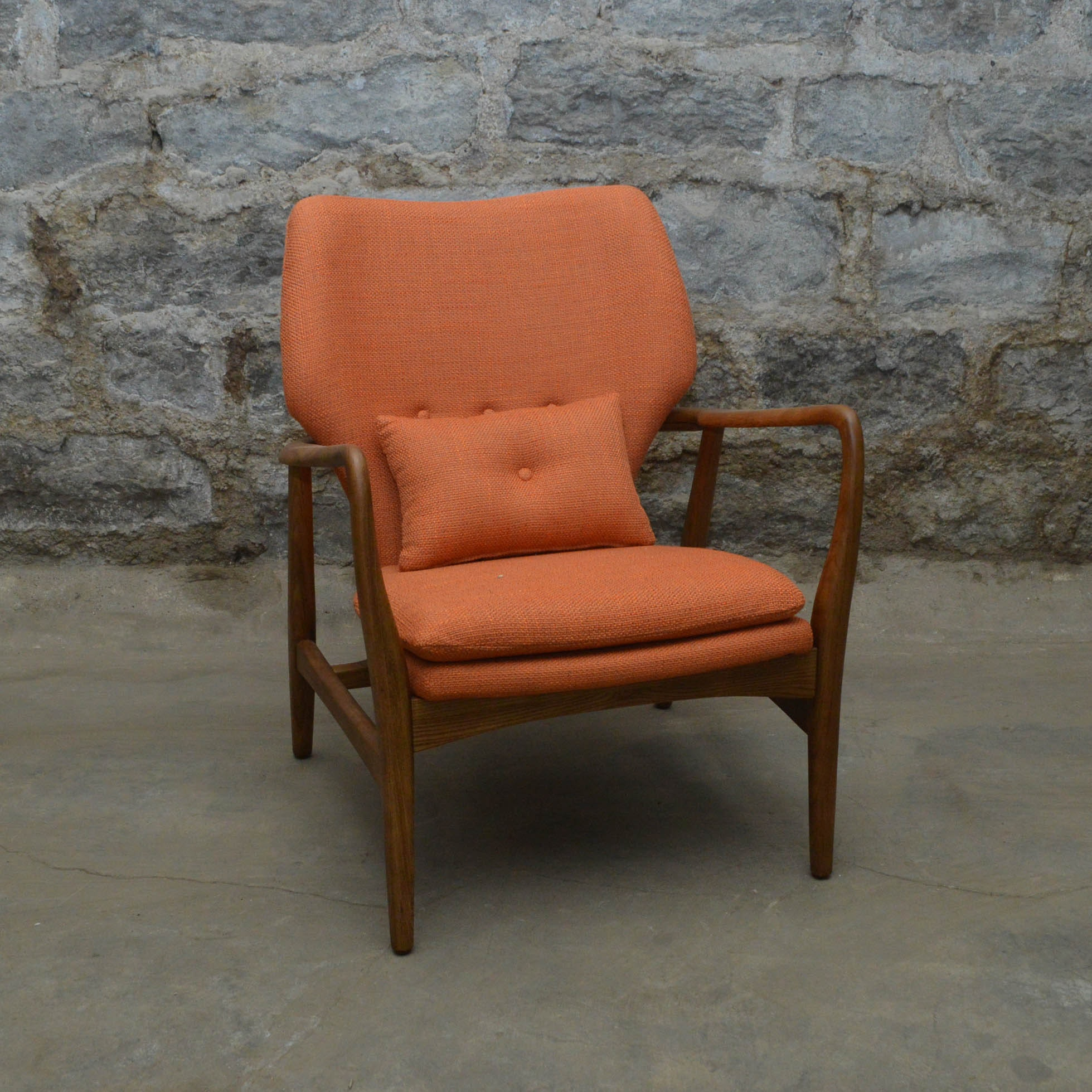 "Danish Modern Orange ""Helsinki"" Side Chair"