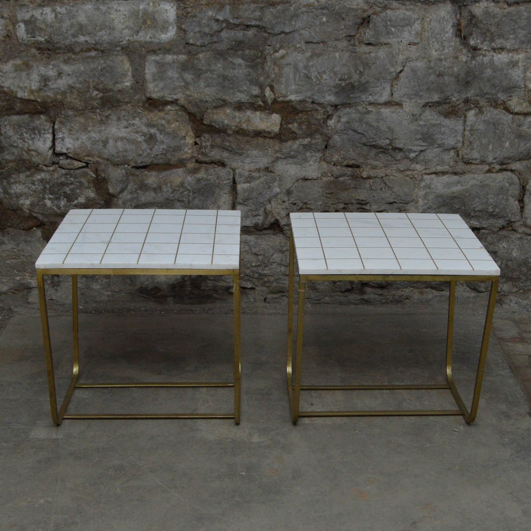 Pair Of Stone Tile Top End Tables ...
