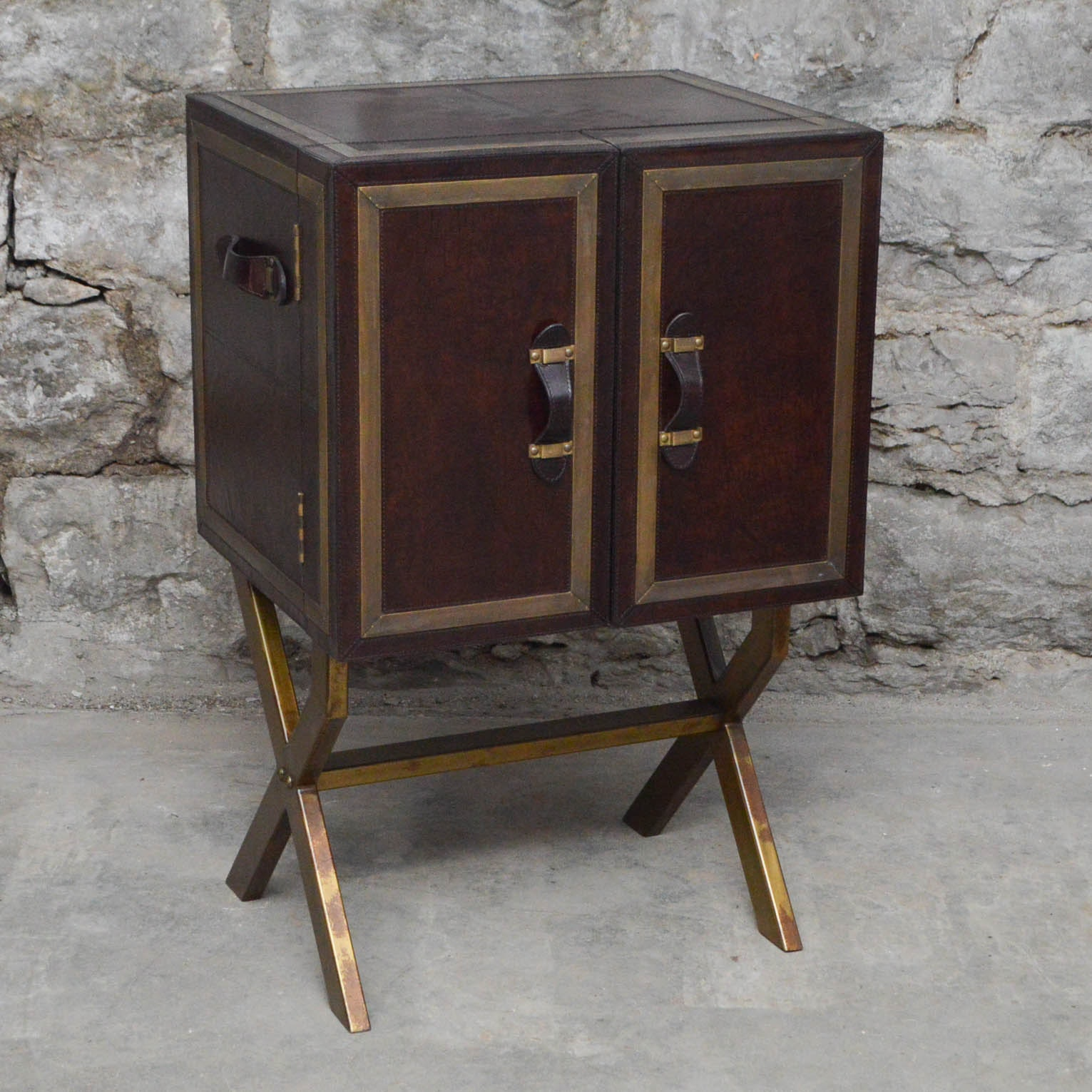 Campaign Style Leather Bar Cabinet on Stand