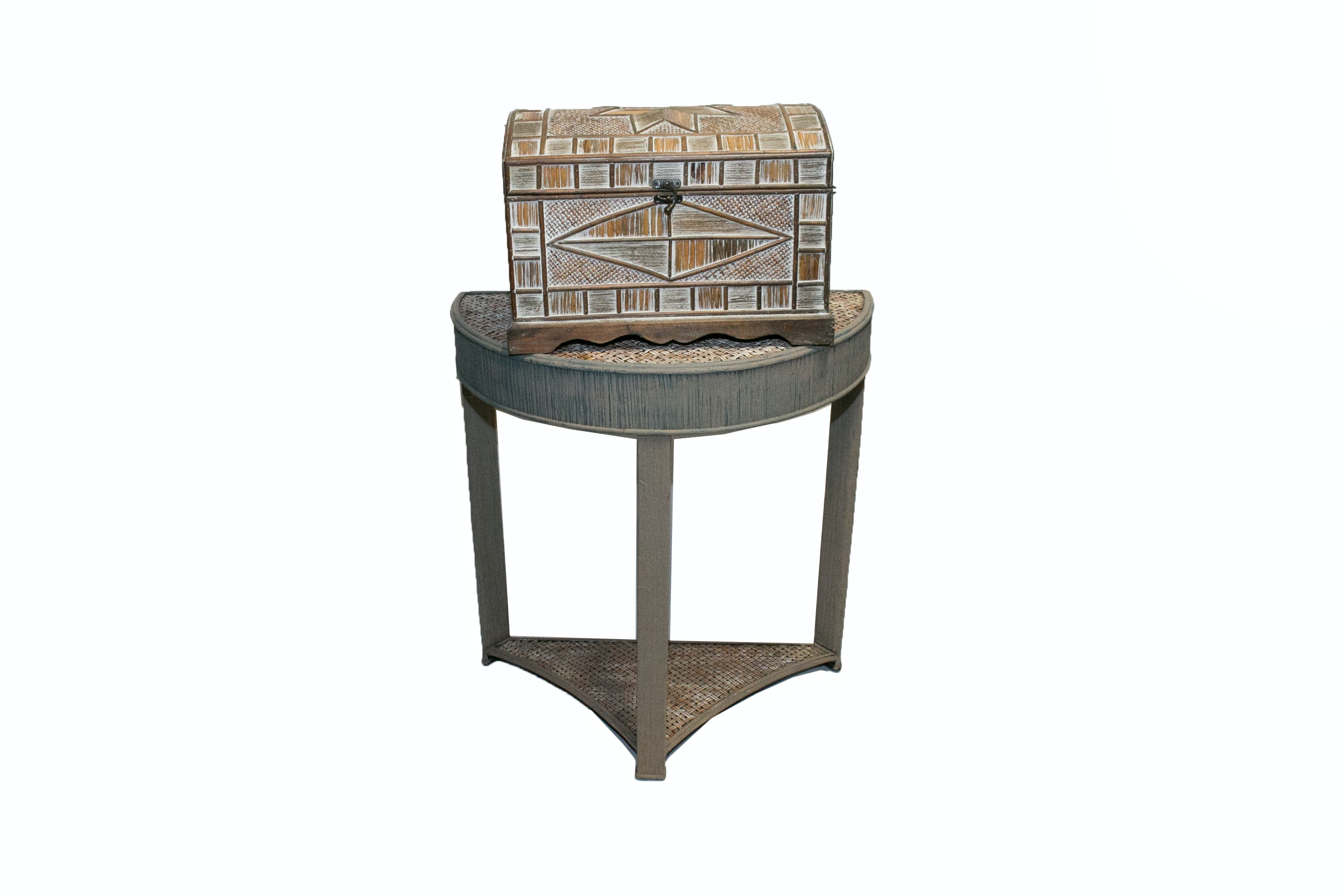 Woven Demilune Table and Chest