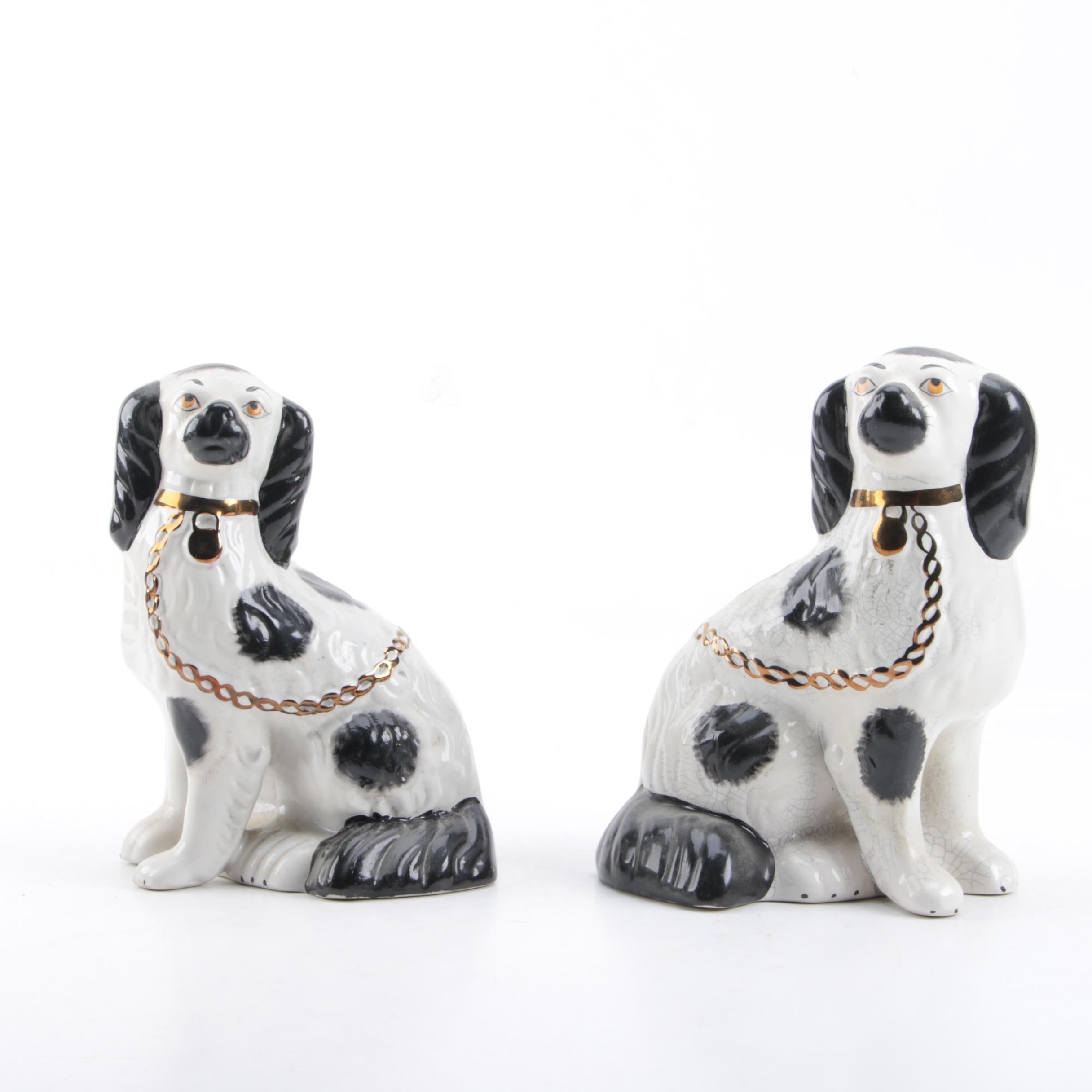 Pair of Staffordshire Style Black and White Ceramic Dog Figurines