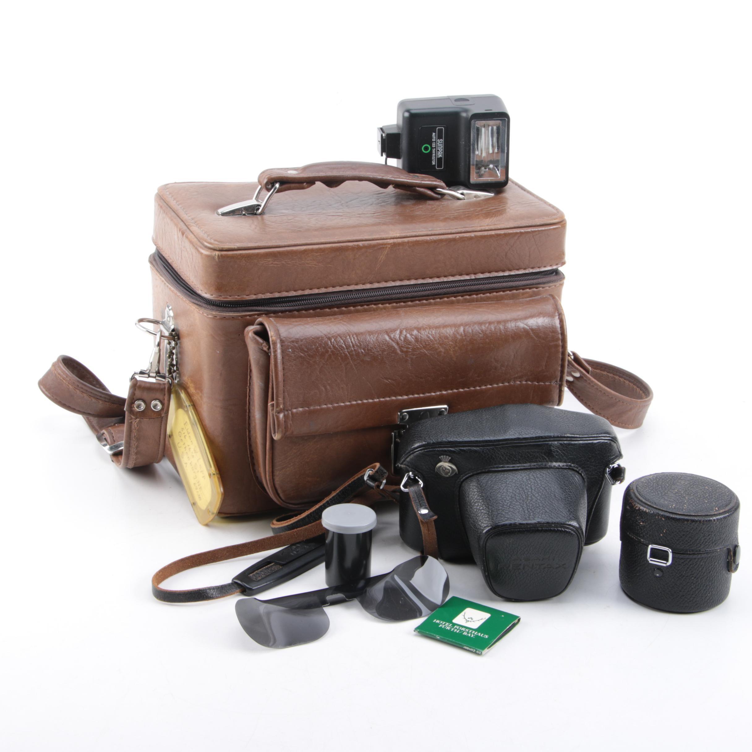 Asahi Pentax Sportmatic SLR Still Camera and Accessories in Case