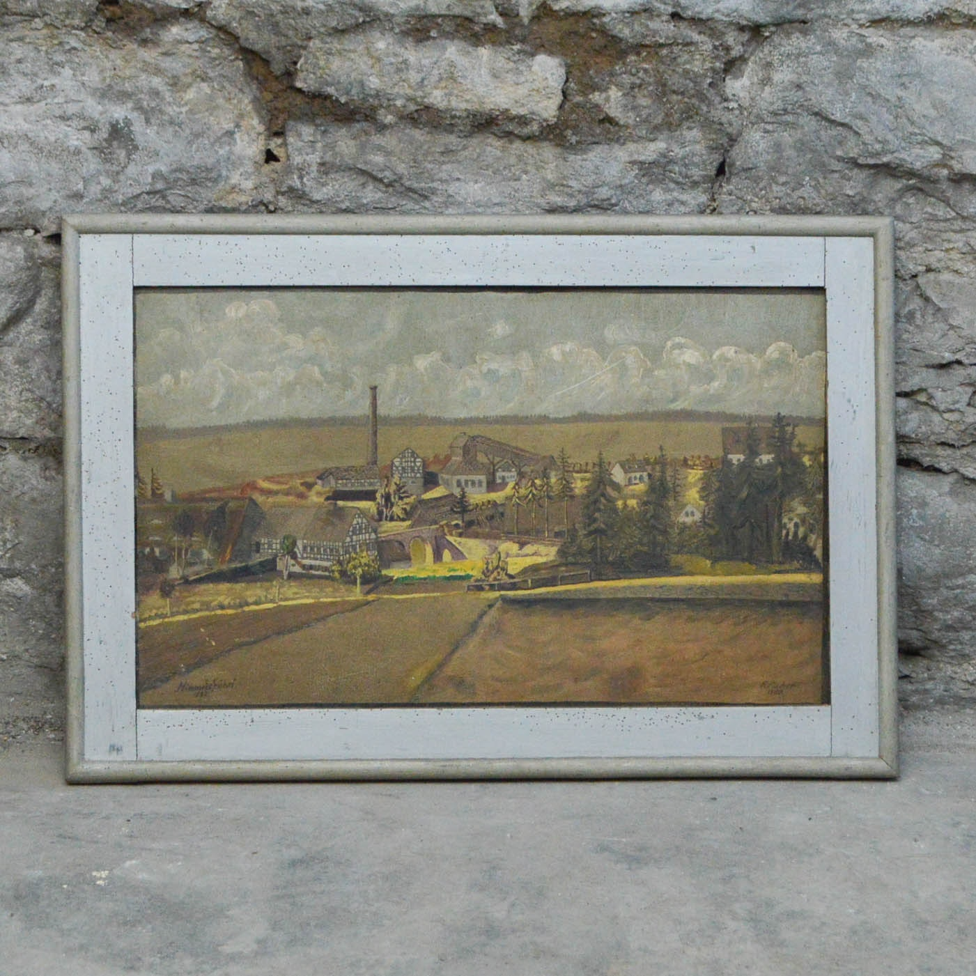 R. Fischer 1930 Oil Painting of Himmelsfürst Mine