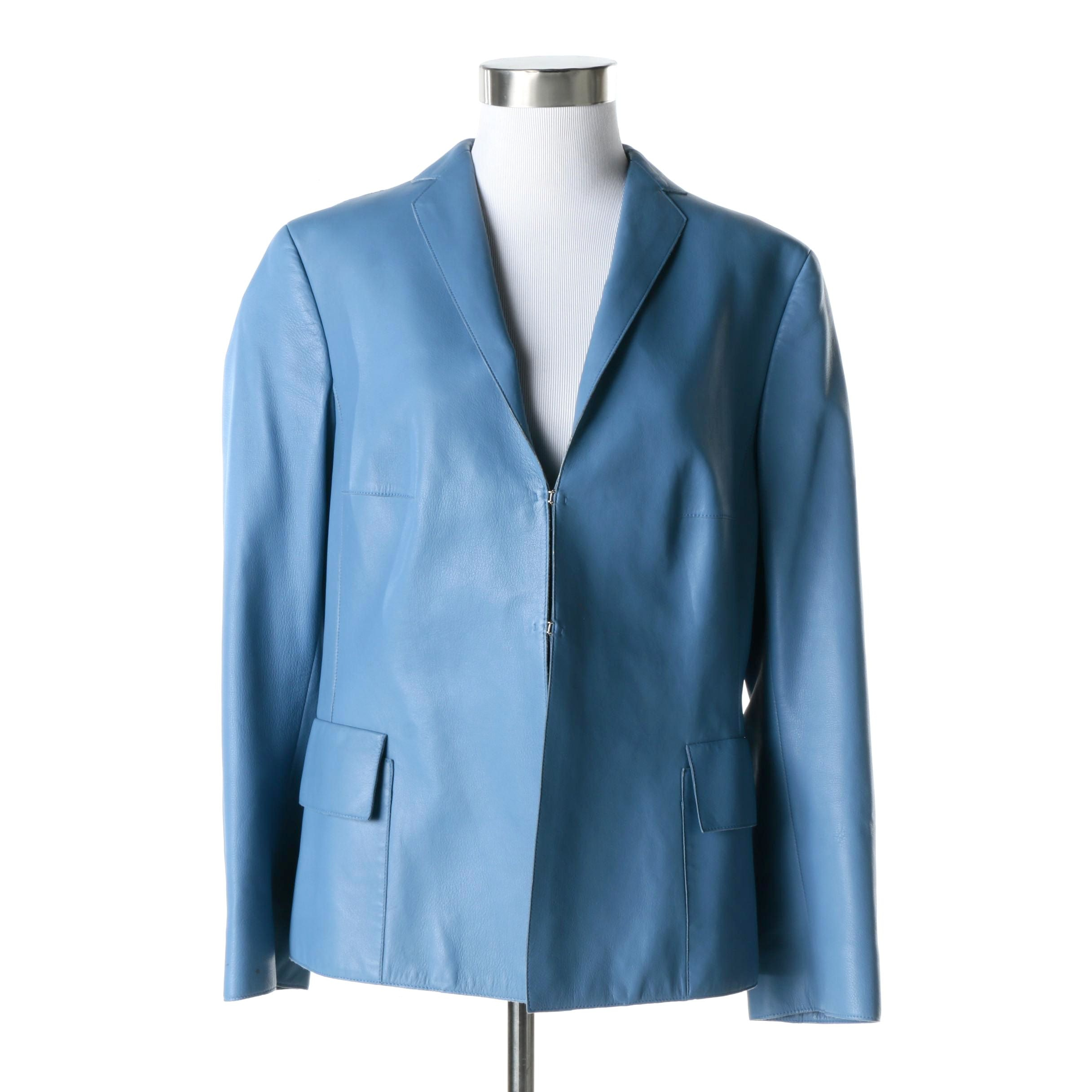 Women's Akris Blue Lambskin Leather Jacket